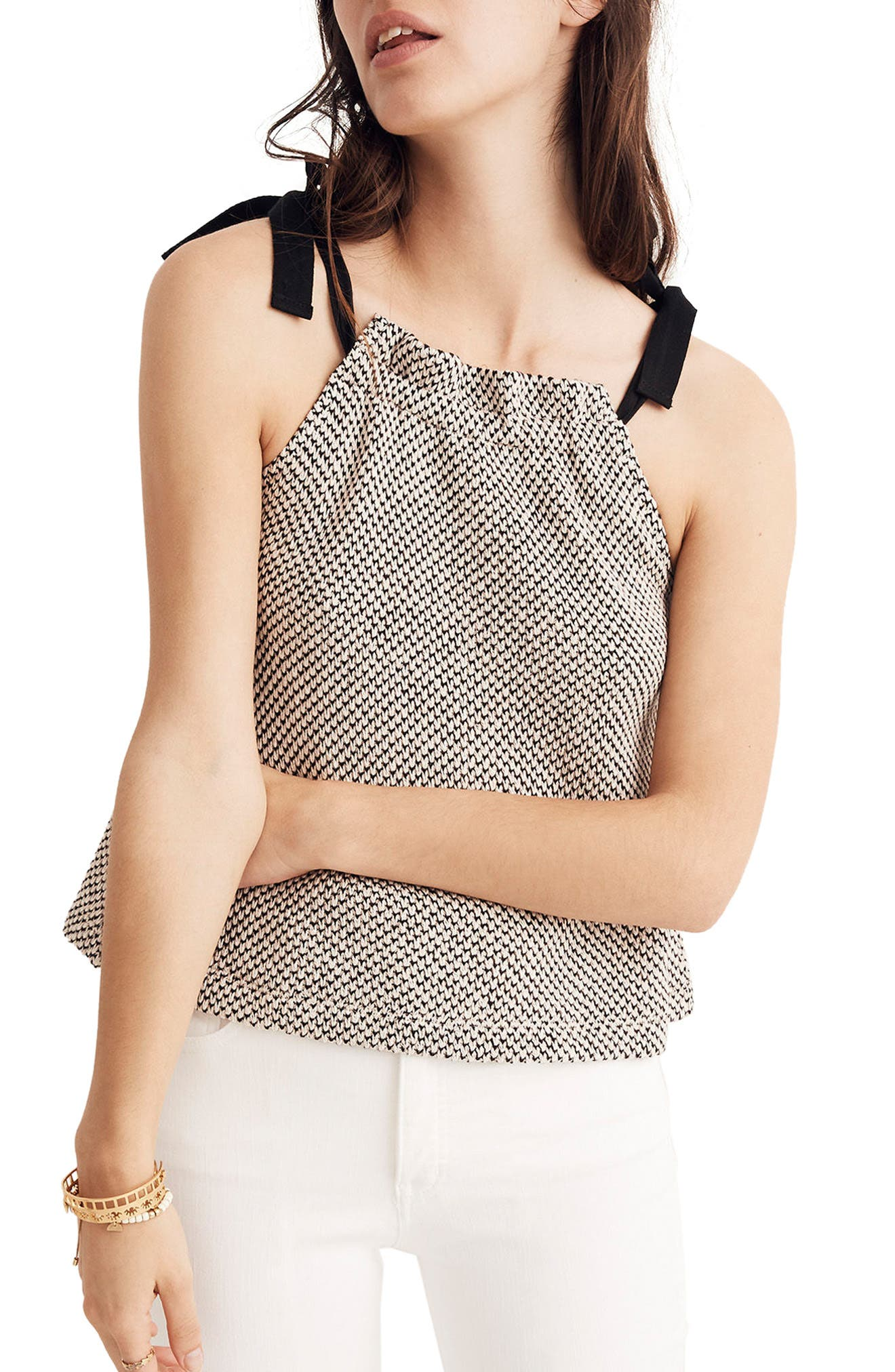 Tie Neck Halter Style Top,                         Main,                         color, Natural