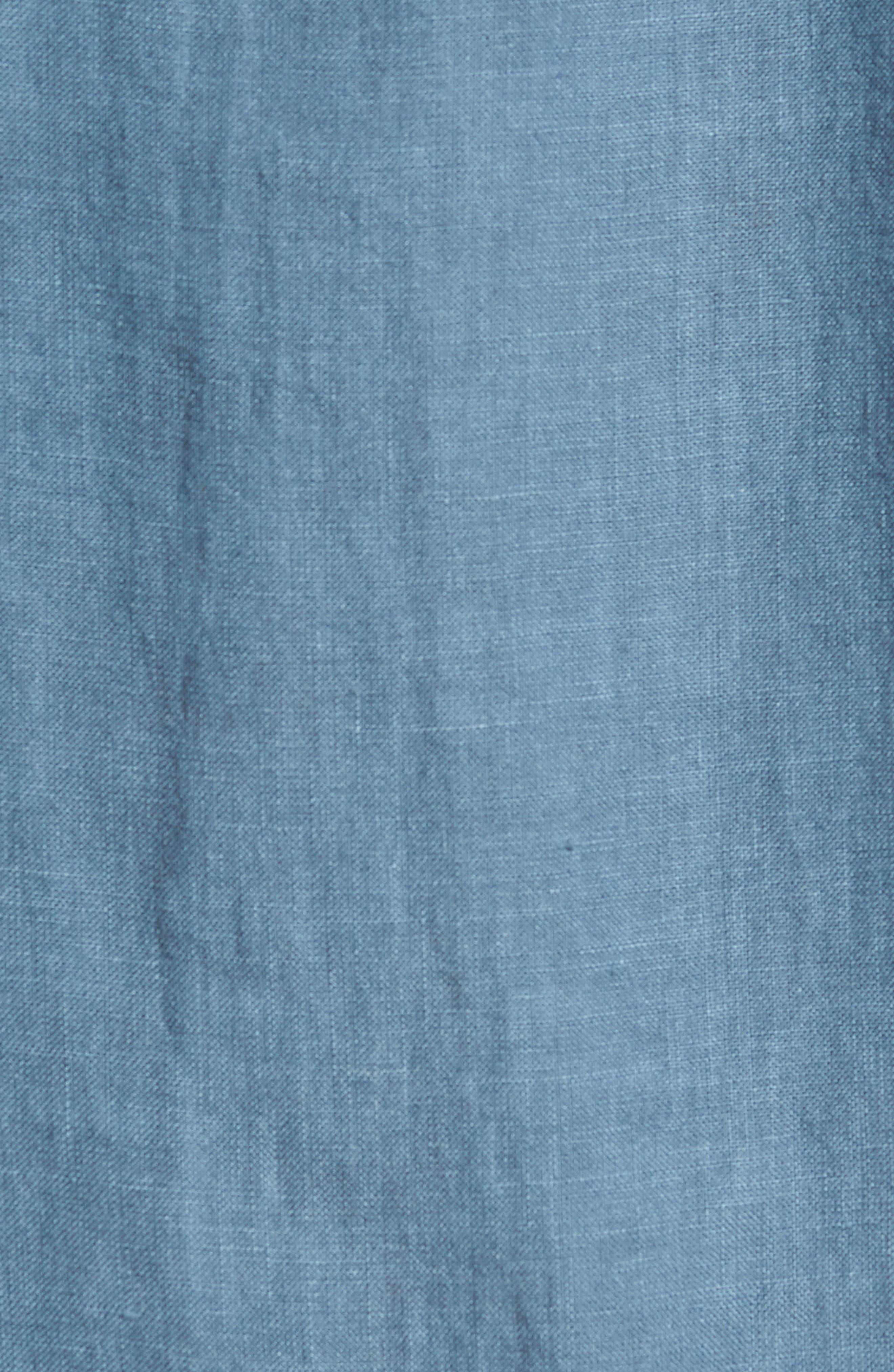 Irving Trim Fit Linen Short Sleeve Sport Shirt,                             Alternate thumbnail 5, color,                             Hydro