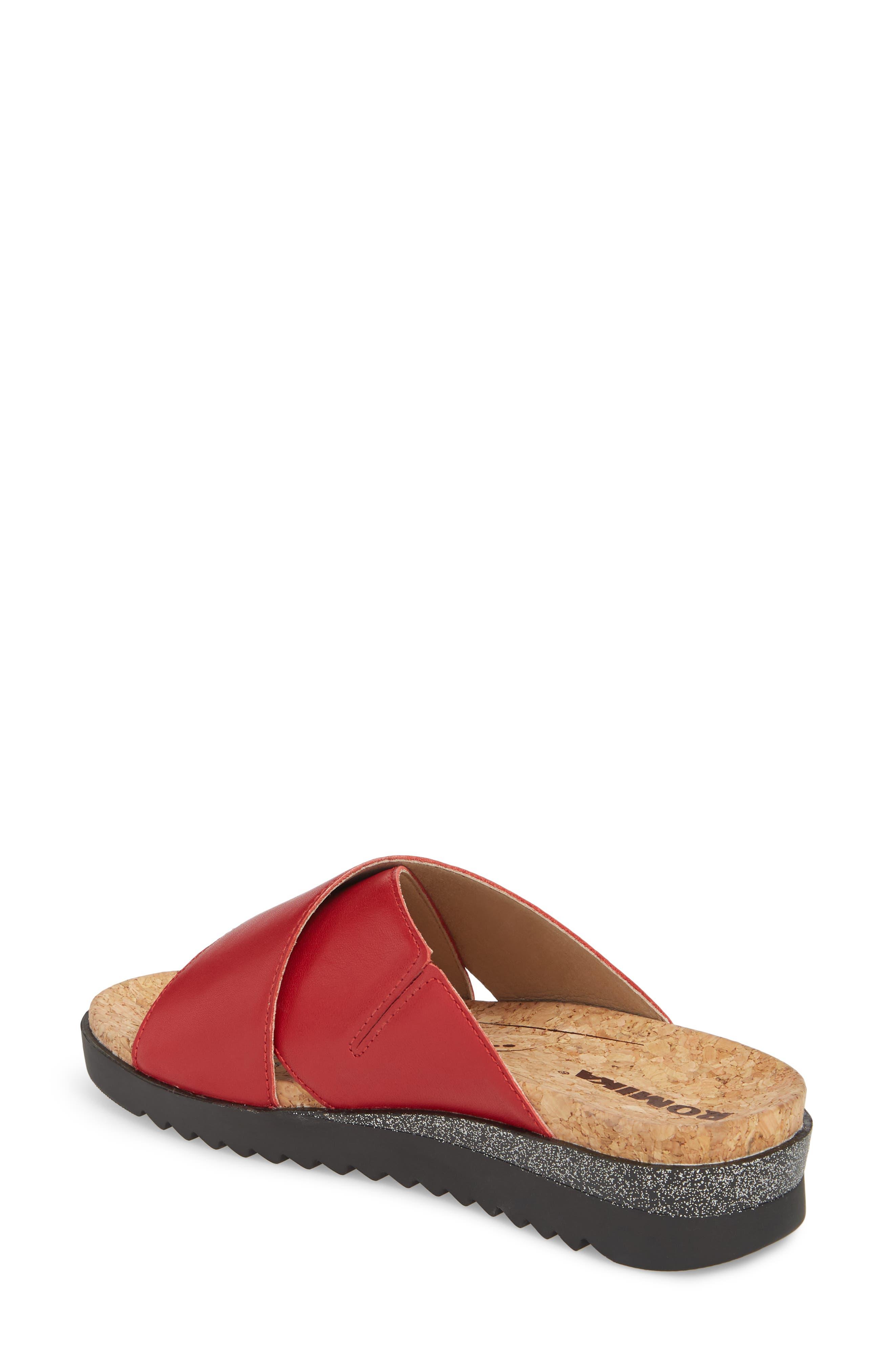 Hollywood 02 Slide Sandal,                             Alternate thumbnail 2, color,                             Red Leather
