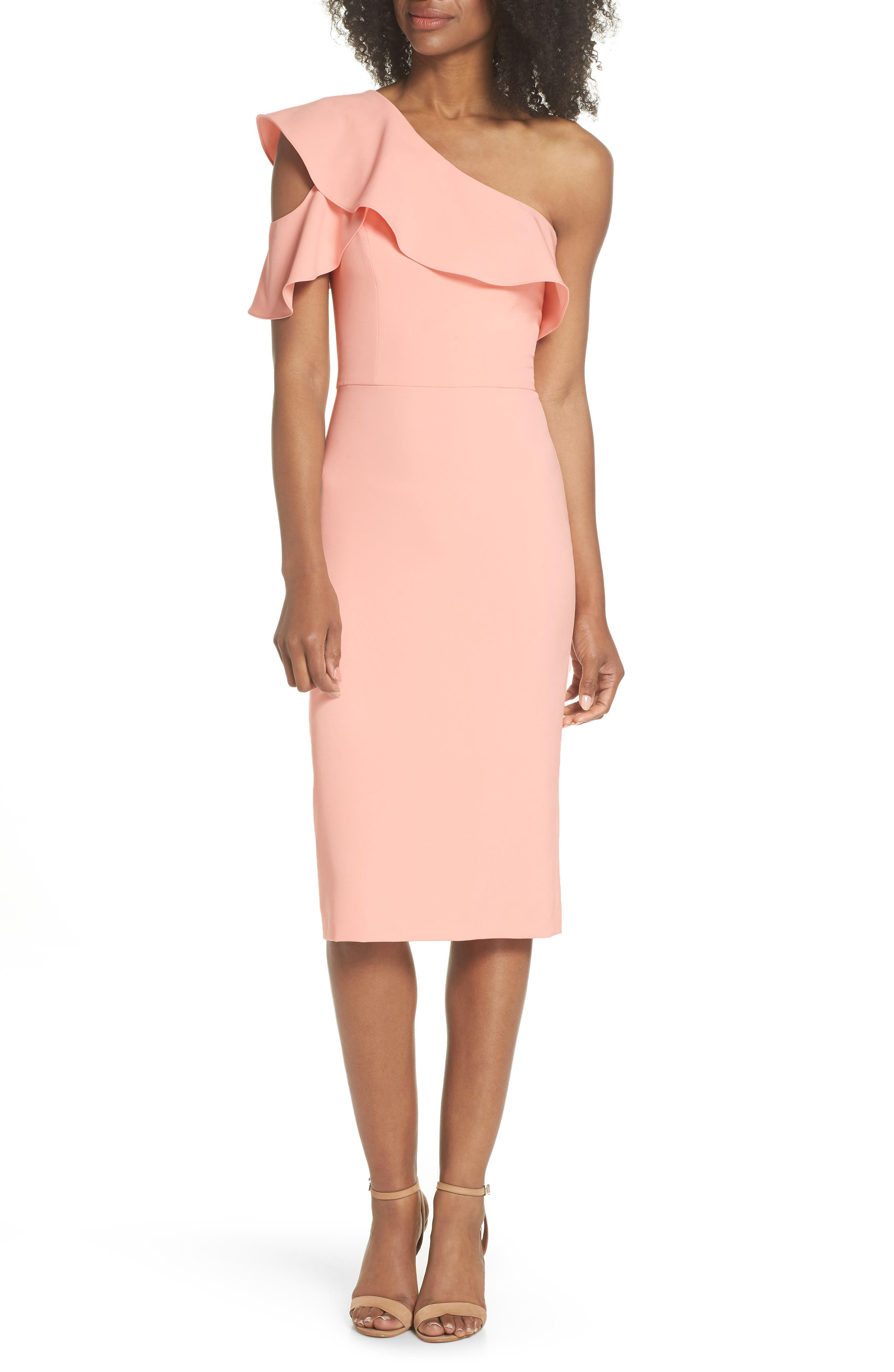 Maggy London Dream One-Shoulder Crepe Ruffle Dress