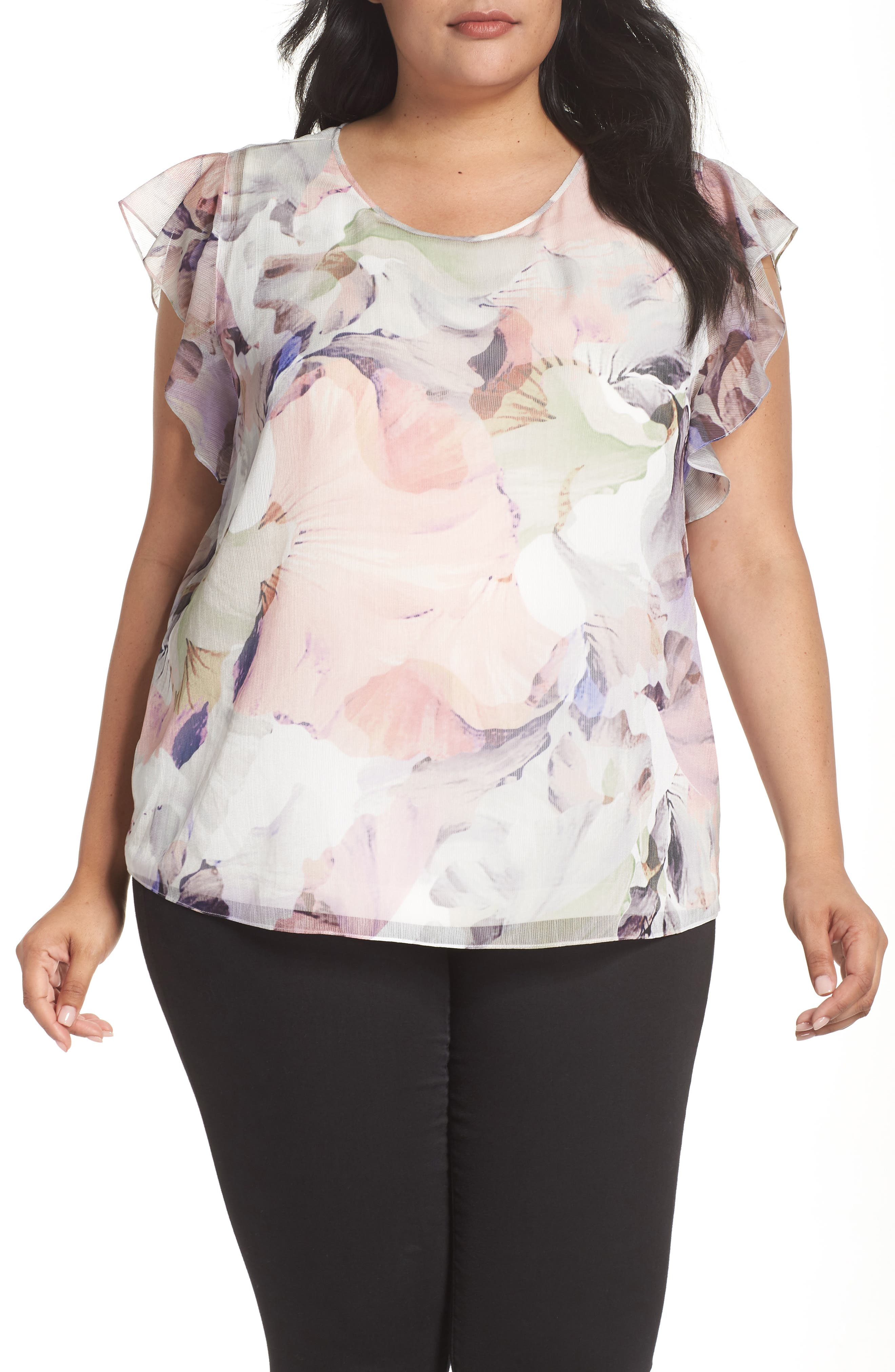 Diffuse Bloom Chiffon Top,                             Main thumbnail 1, color,                             New Ivory