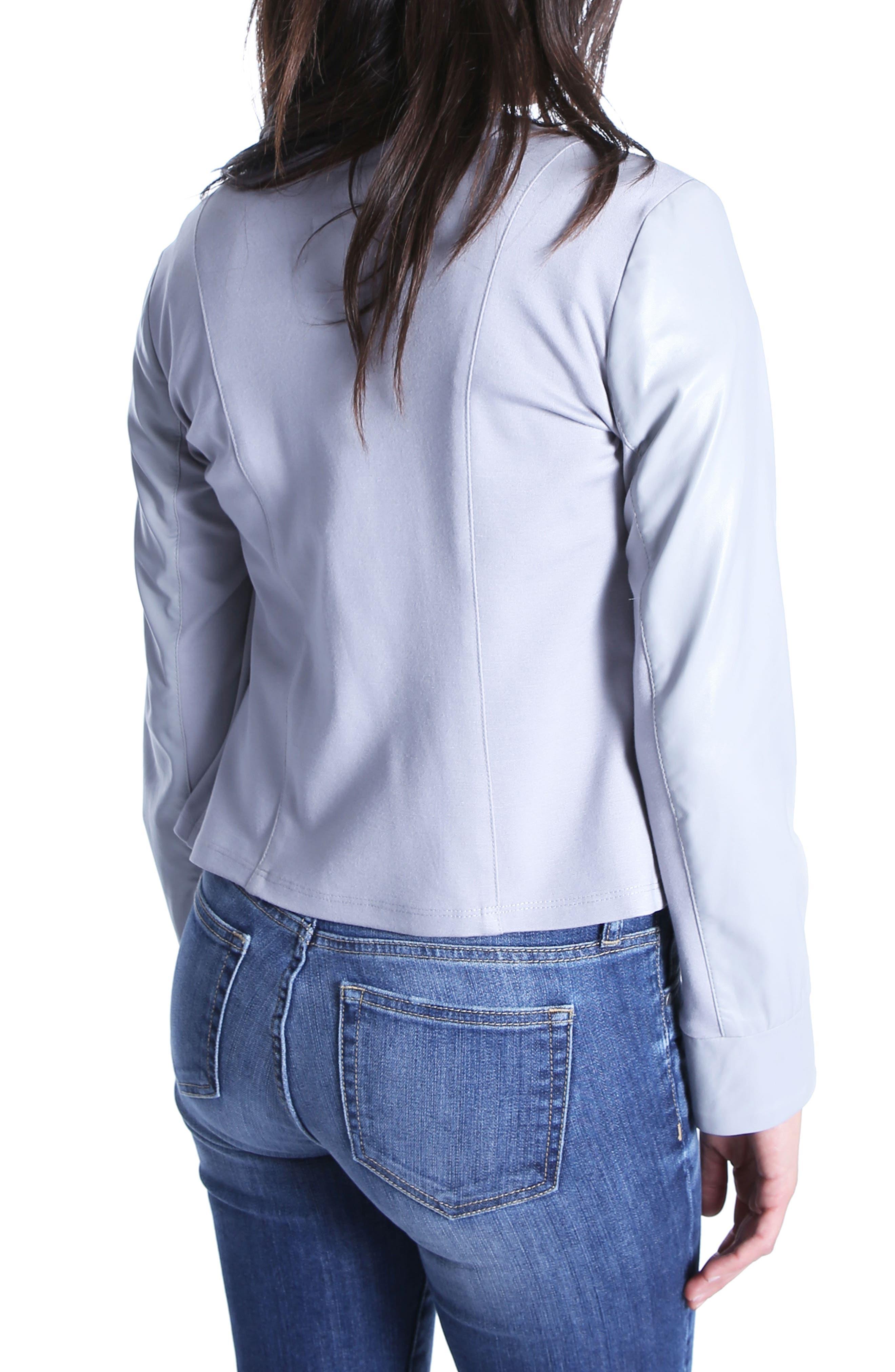 Dahliana Faux Leather Jacket,                             Alternate thumbnail 2, color,                             Grey