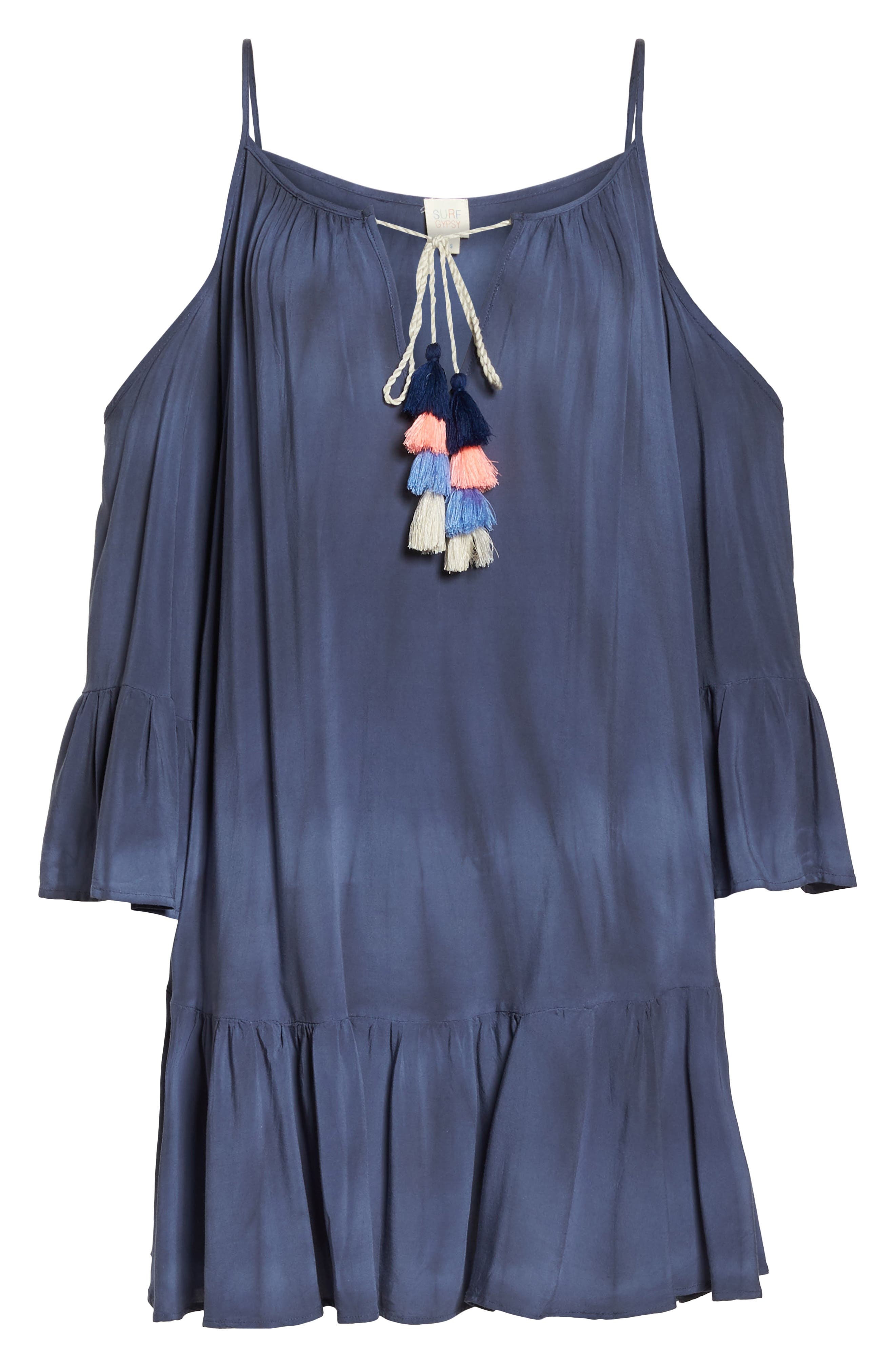 Tasseled Cold Shoulder Cover-Up Tunic,                             Alternate thumbnail 6, color,                             Washed Navy