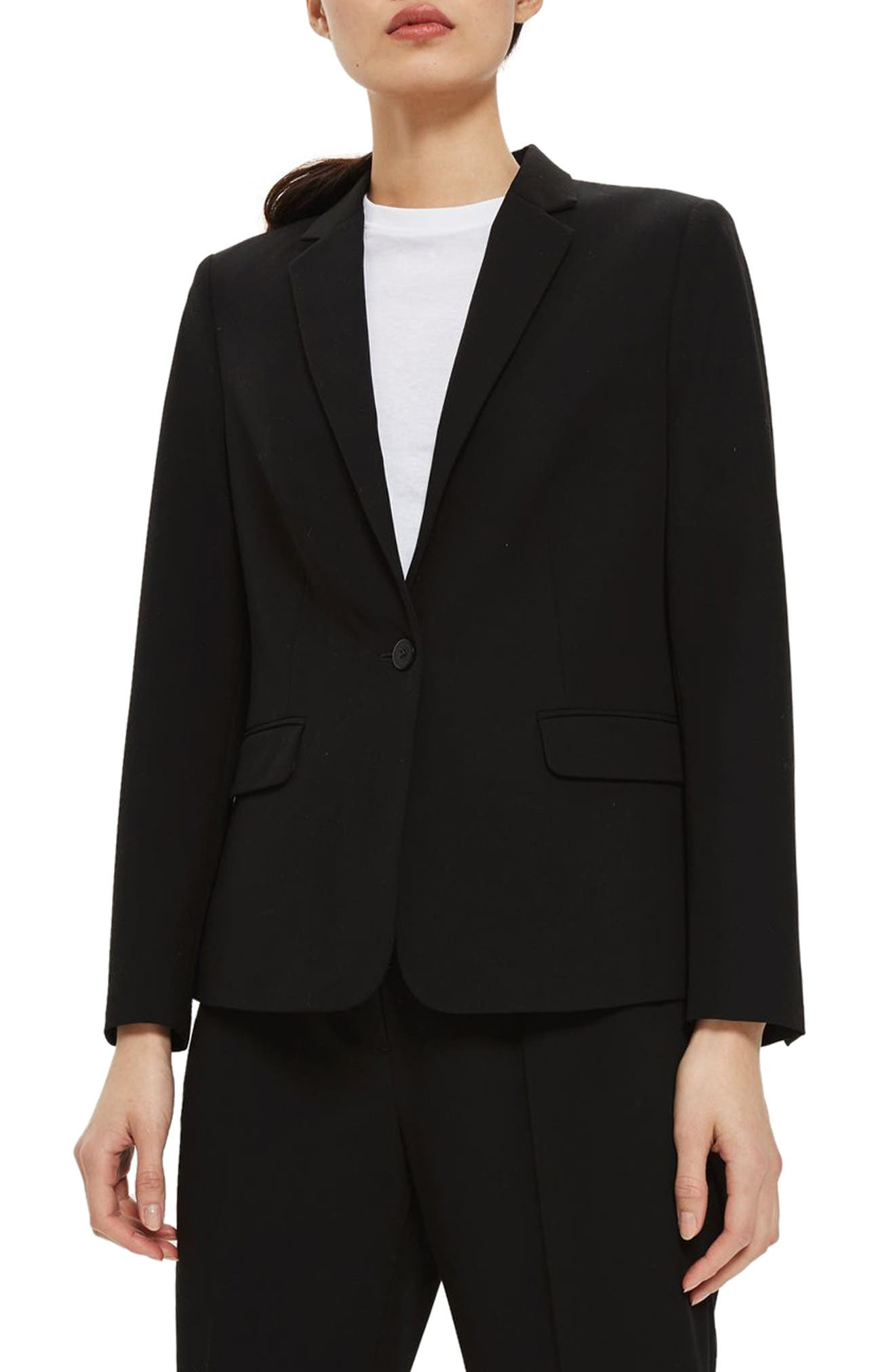 Single Breasted Suit Jacket,                             Main thumbnail 1, color,                             Black