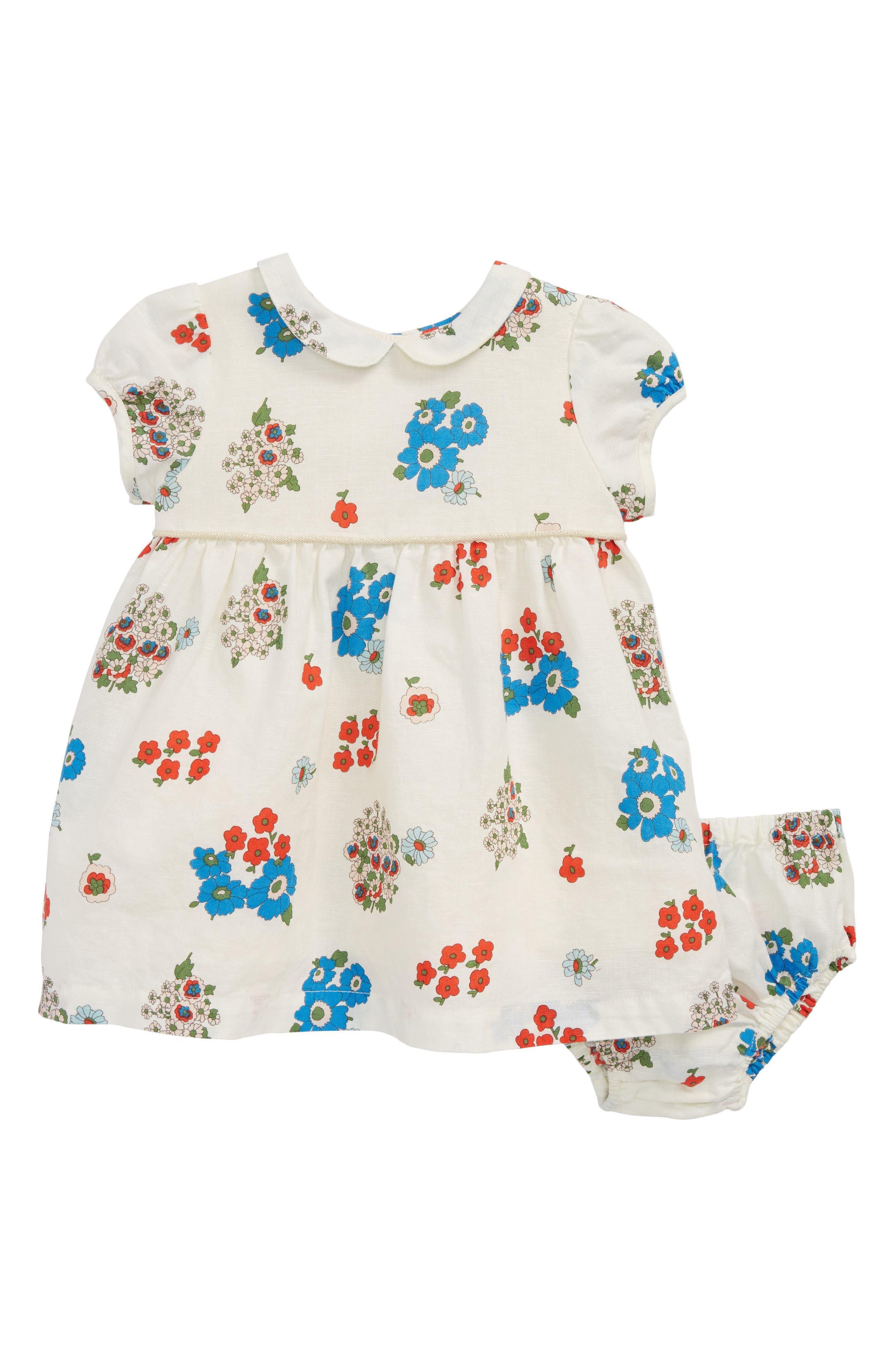 Mini Boden Floral Print Dress (Baby Girls & Toddler Girls))