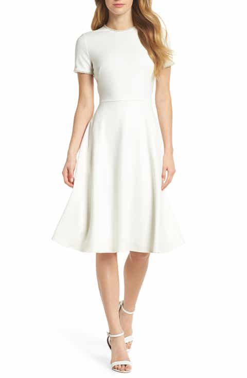 Gal Meets Glam Collection Pearly Trim Fit Flare Dress Nordstrom Exclusive