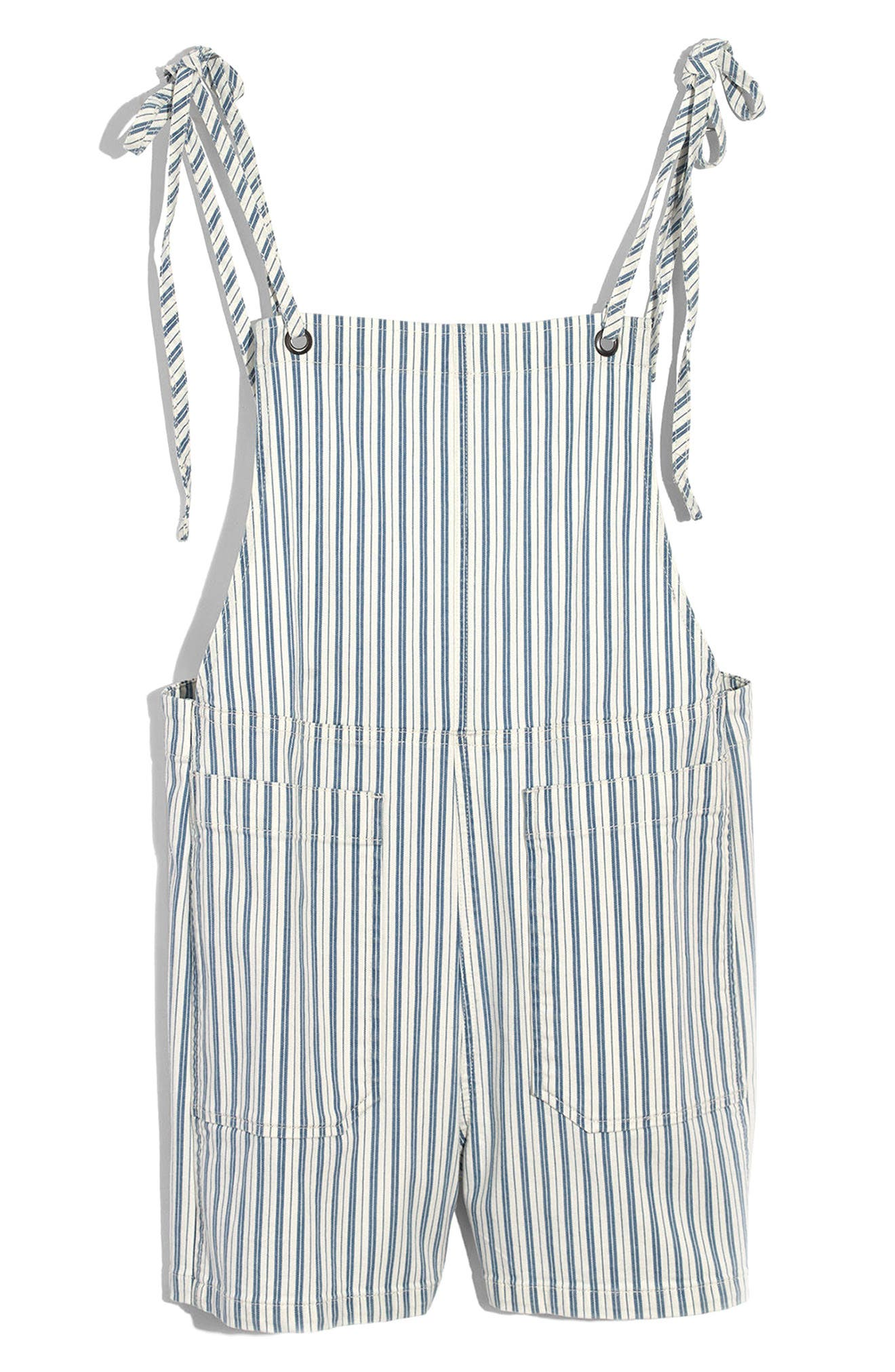 Tie Strap Denim Short Overalls,                             Alternate thumbnail 3, color,                             Kathy Stripe
