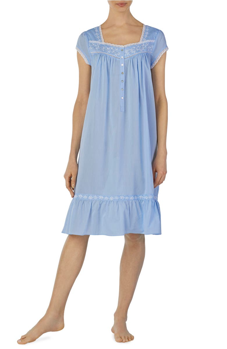 Eileen West EMBROIDERED CHAMBRAY NIGHTGOWN