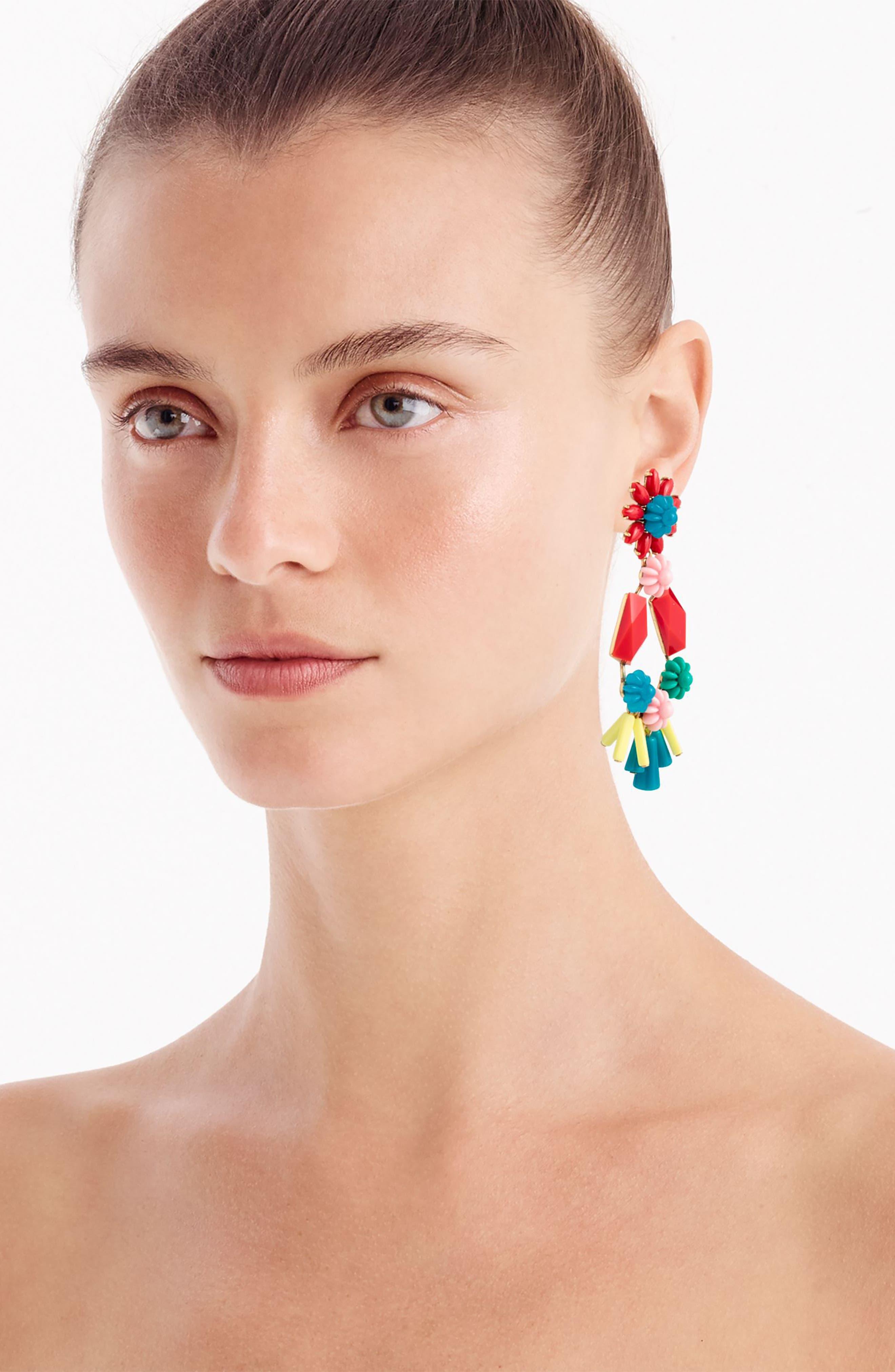 Flower & Bead Chandelier Earrings,                             Alternate thumbnail 2, color,                             Black Multi