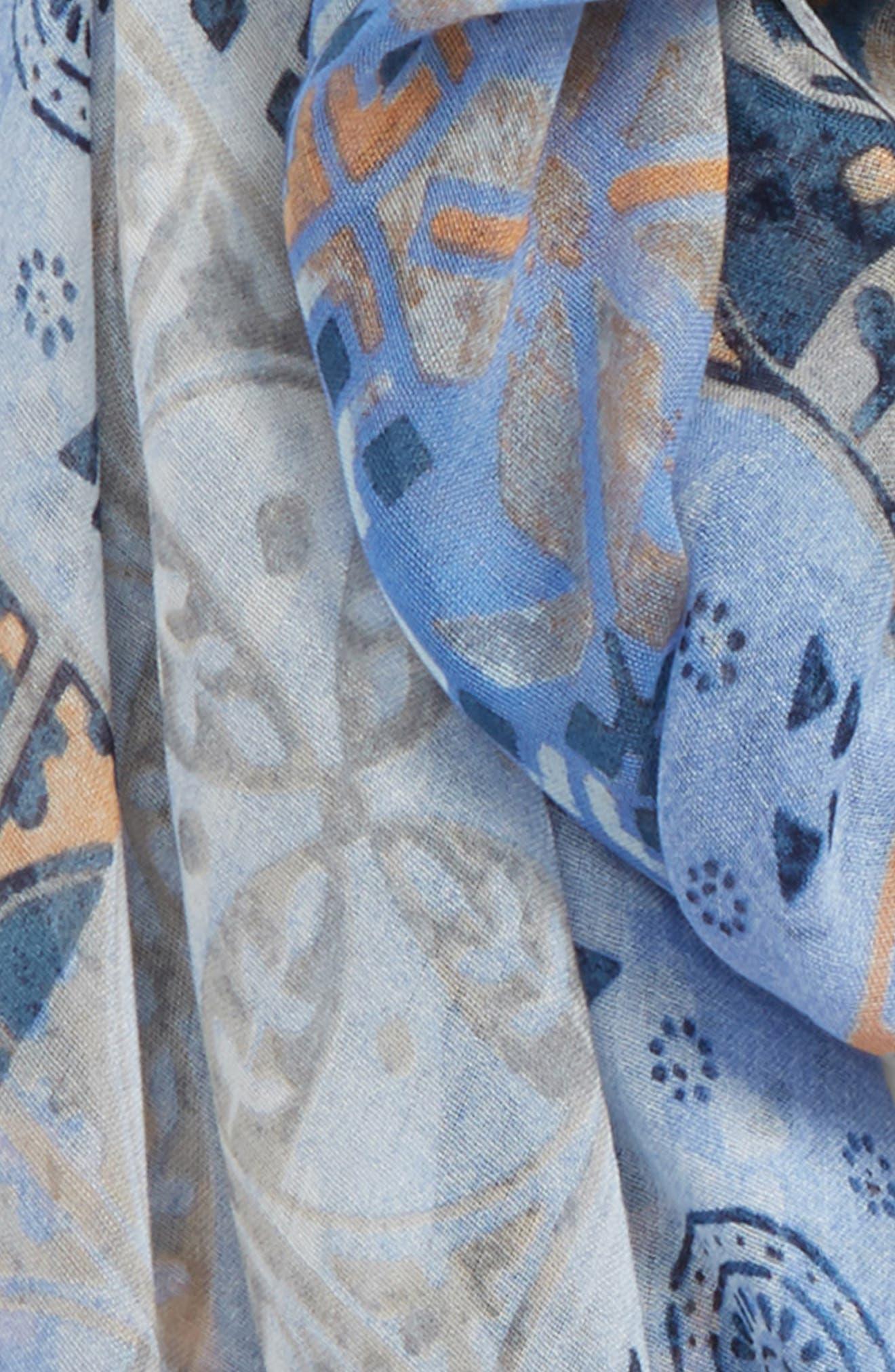 Print Modal & Silk Scarf,                             Alternate thumbnail 3, color,                             Blue Mediterranean Tiles