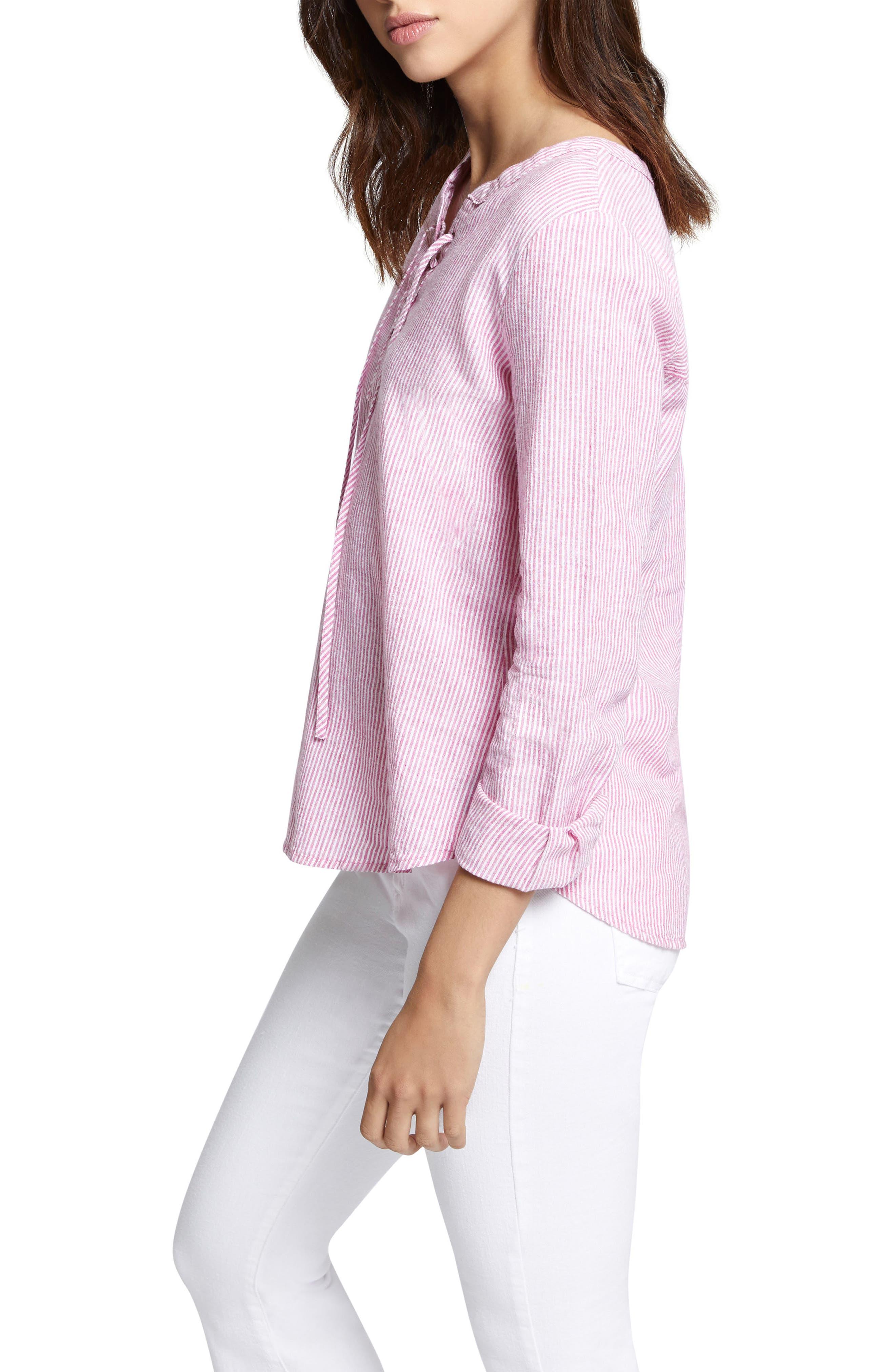 Tommie Lace-Up Stripe Shirt,                             Alternate thumbnail 3, color,                             Wild Cherry Stripe