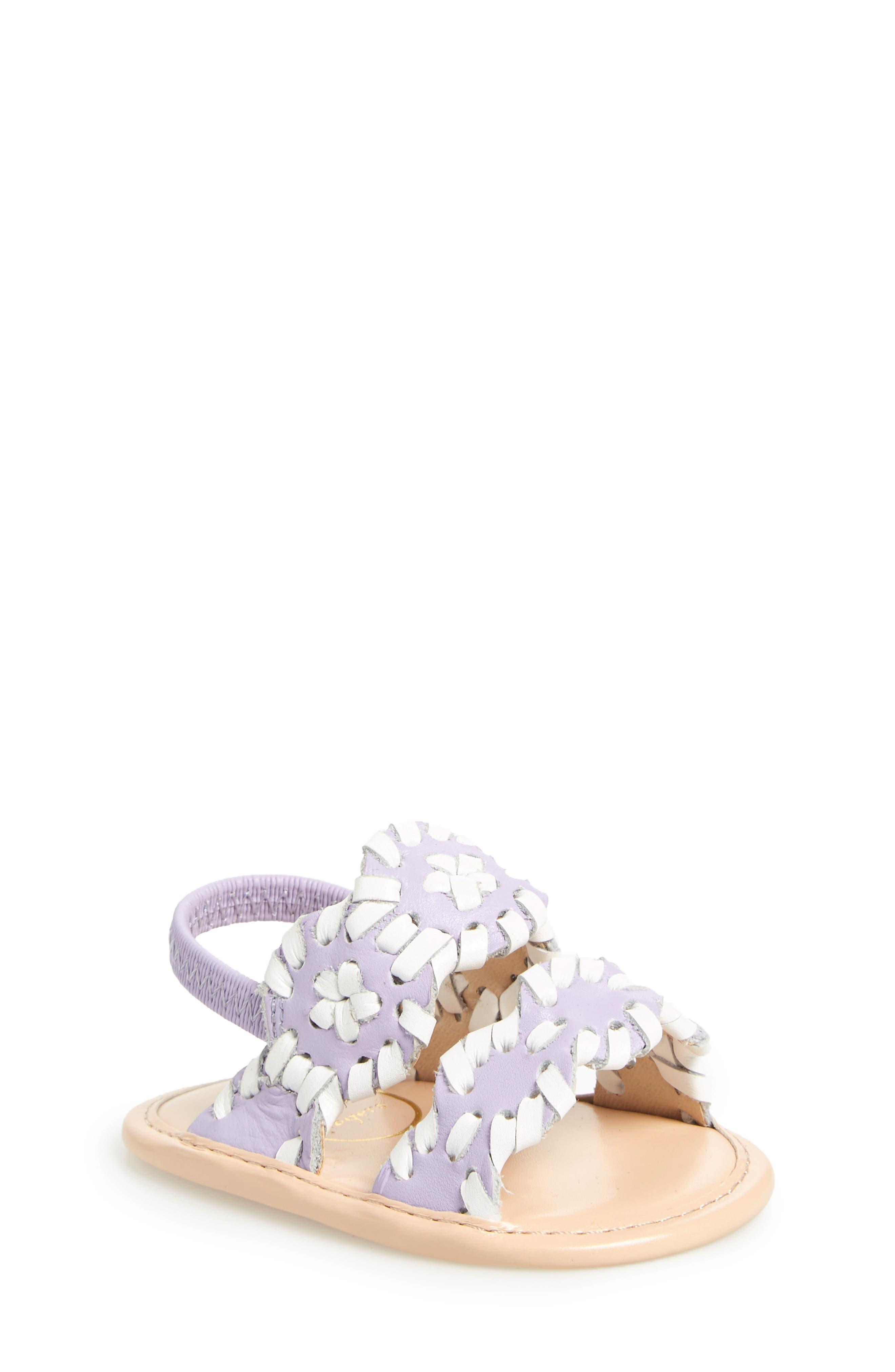 'Lauren' Sandal,                             Main thumbnail 1, color,                             Lilac/ White Leather