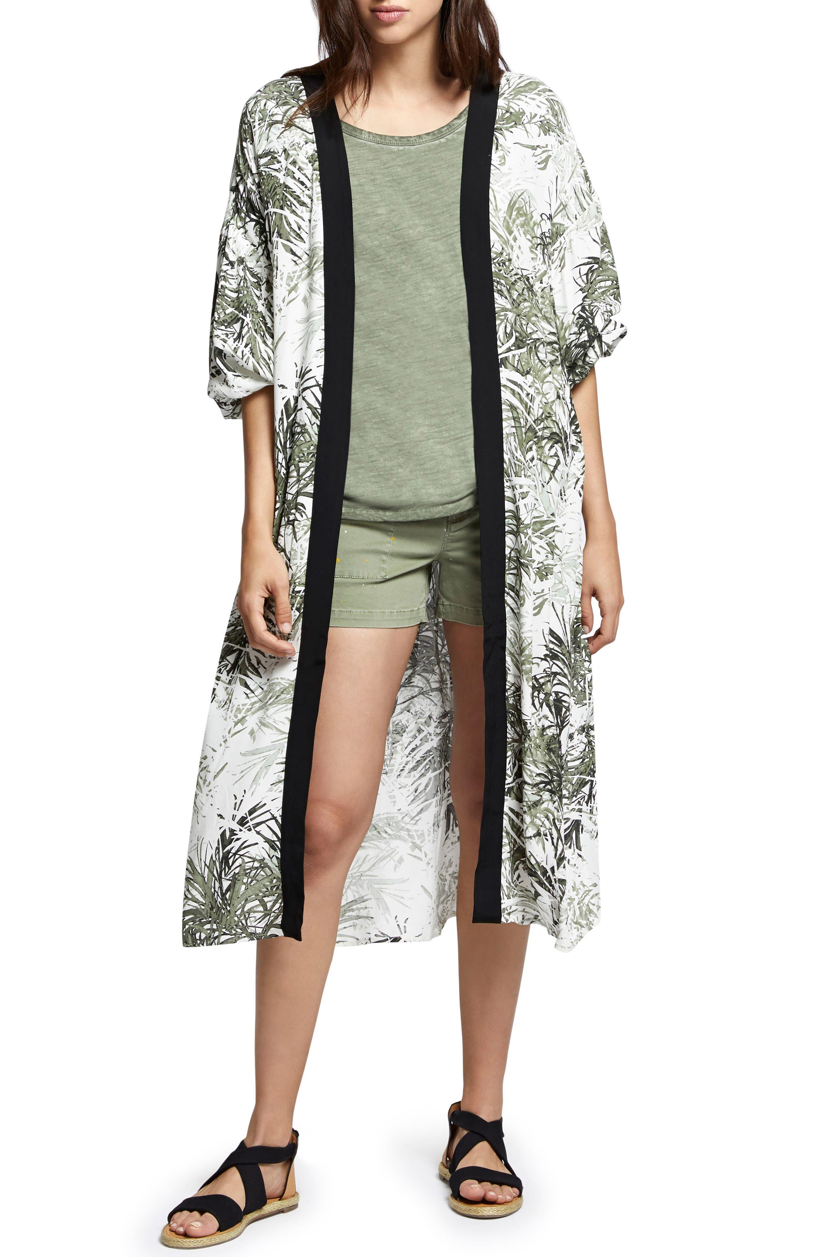 Calico Print Kimono,                             Main thumbnail 1, color,                             Tiki Palm