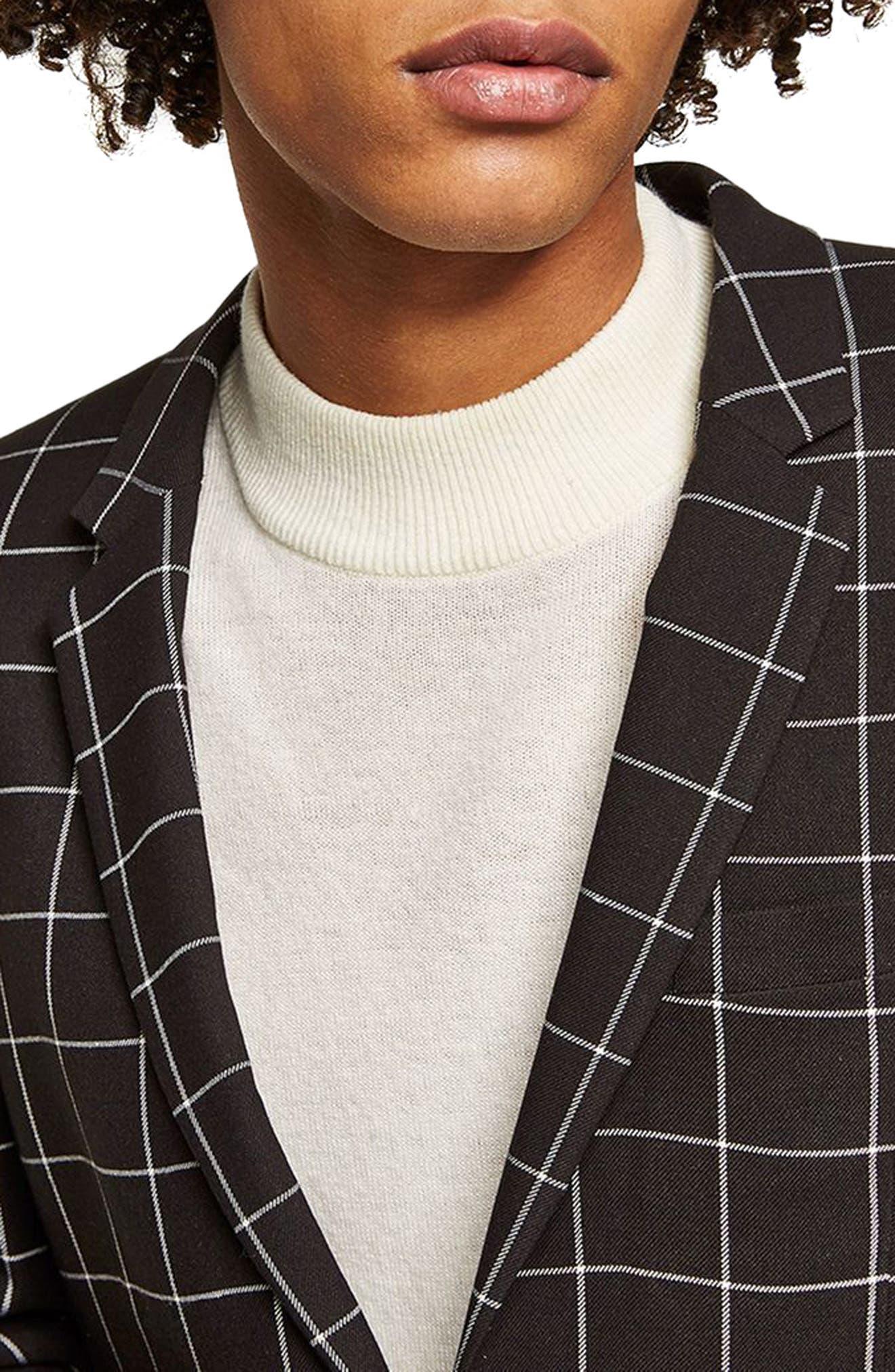 Skinny Fit Windowpane Suit Jacket,                             Alternate thumbnail 2, color,                             Black Multi