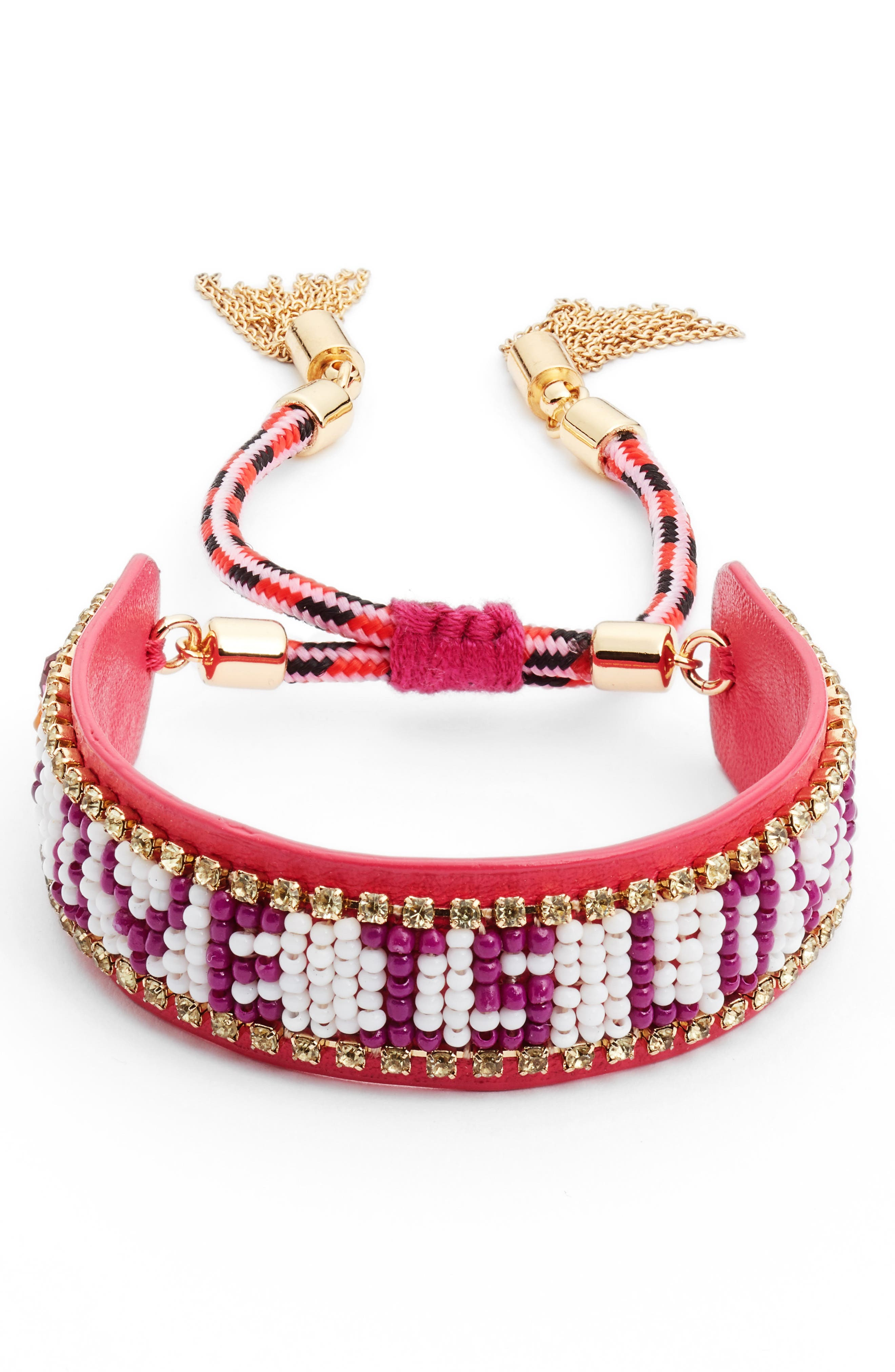 Love Is Love Seed Bead Bracelet,                             Main thumbnail 1, color,                             Fuchsia Multi