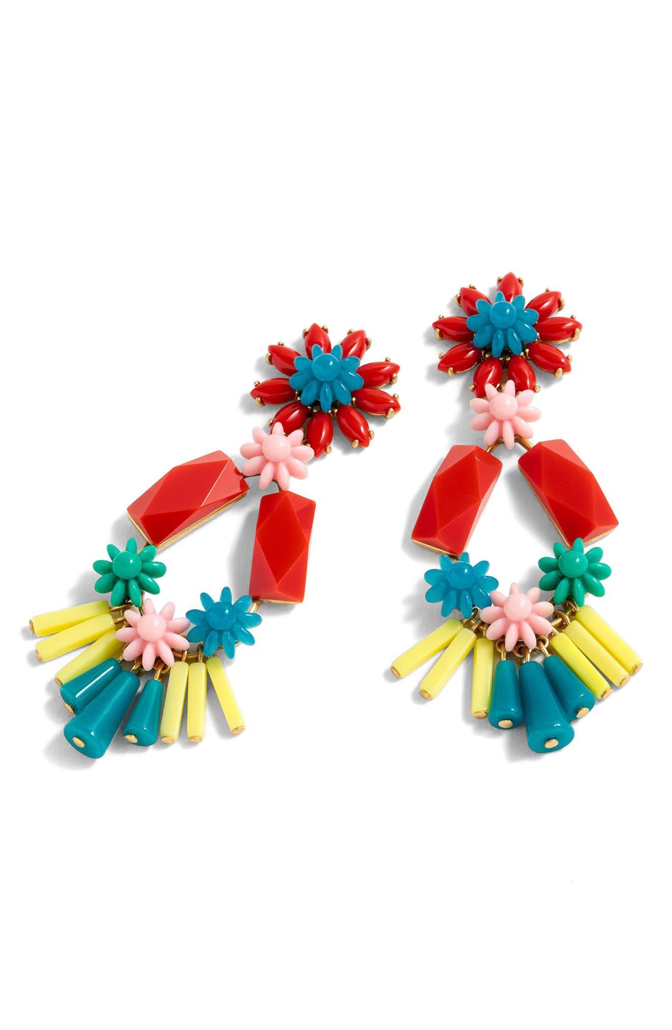Flower & Bead Chandelier Earrings,                         Main,                         color, Black Multi