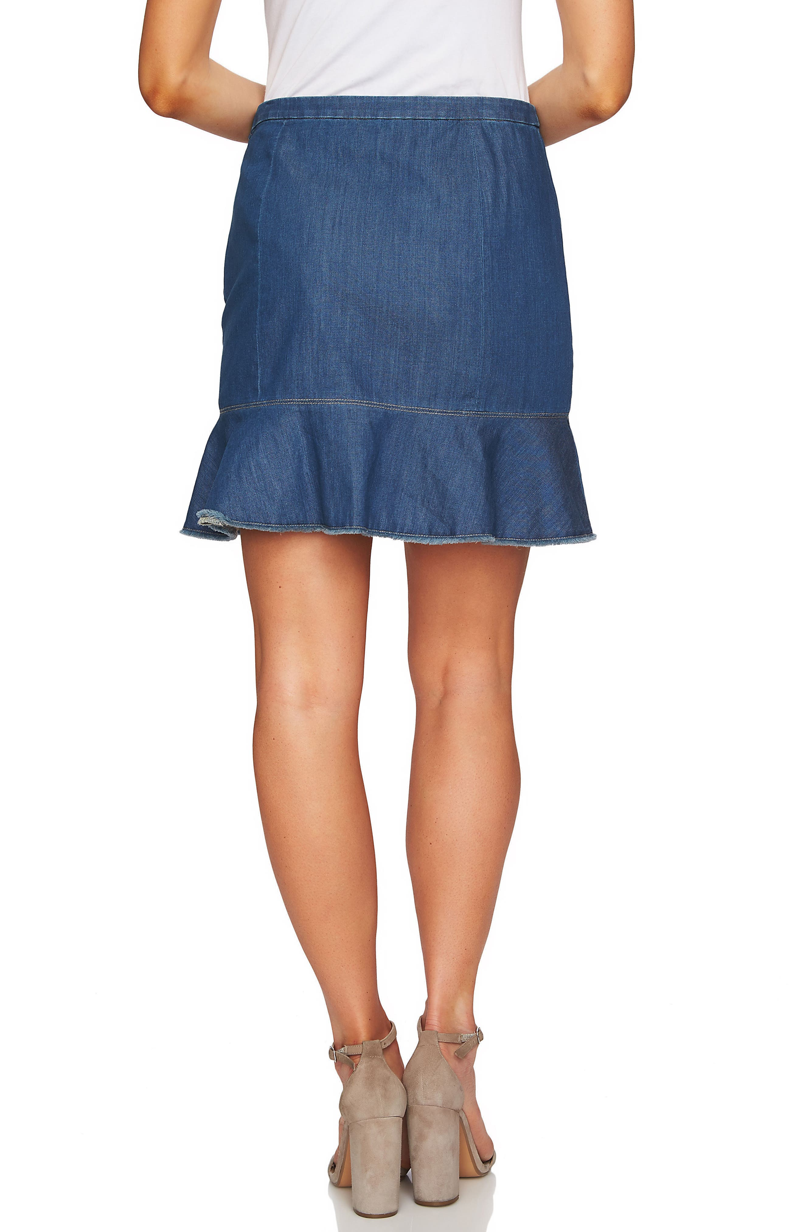 Cascading Ruffle Denim Skirt,                             Alternate thumbnail 2, color,                             Authentic
