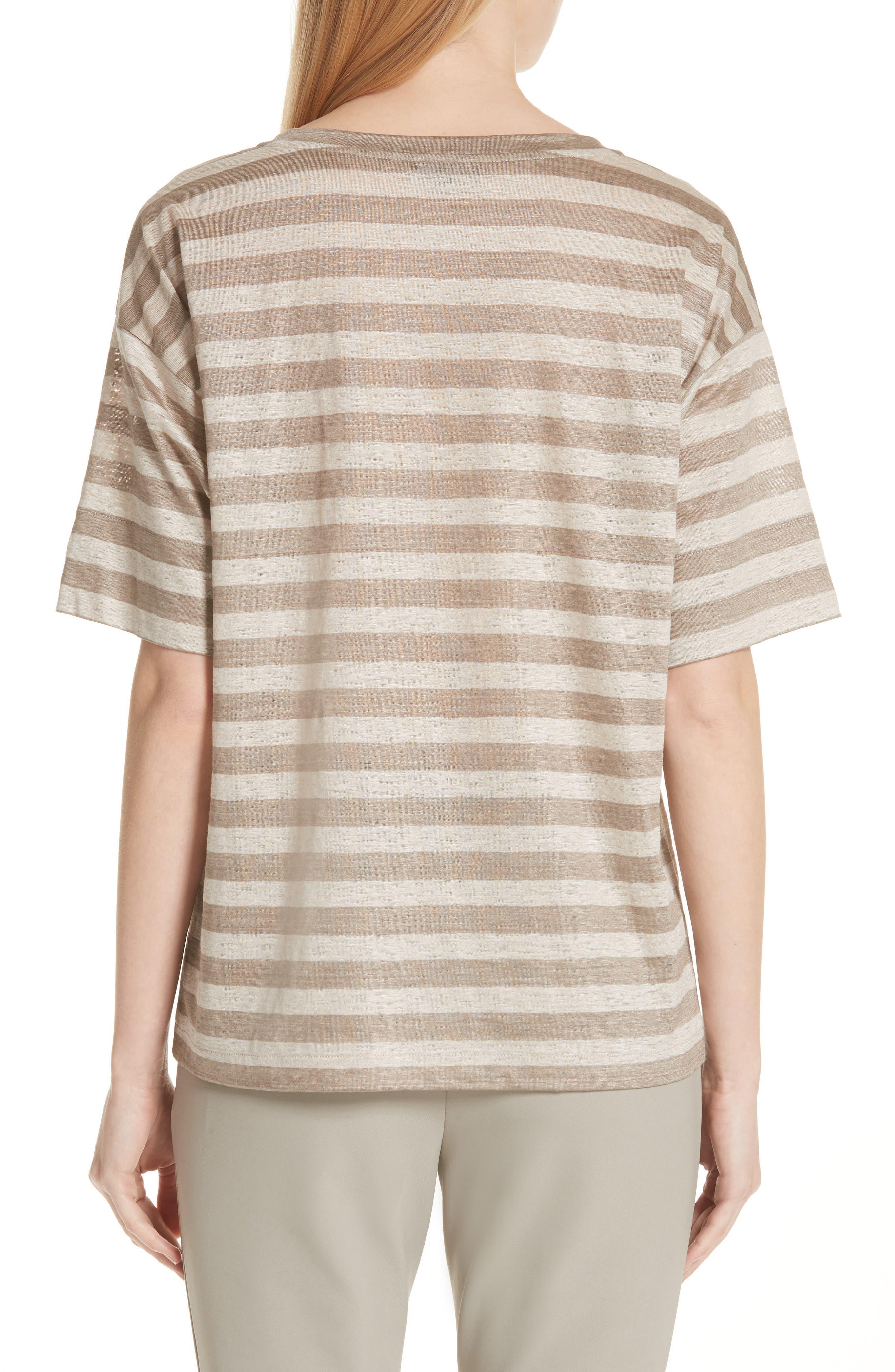 Easy Stripe Linen Tee,                             Alternate thumbnail 2, color,                             Partridge Multi