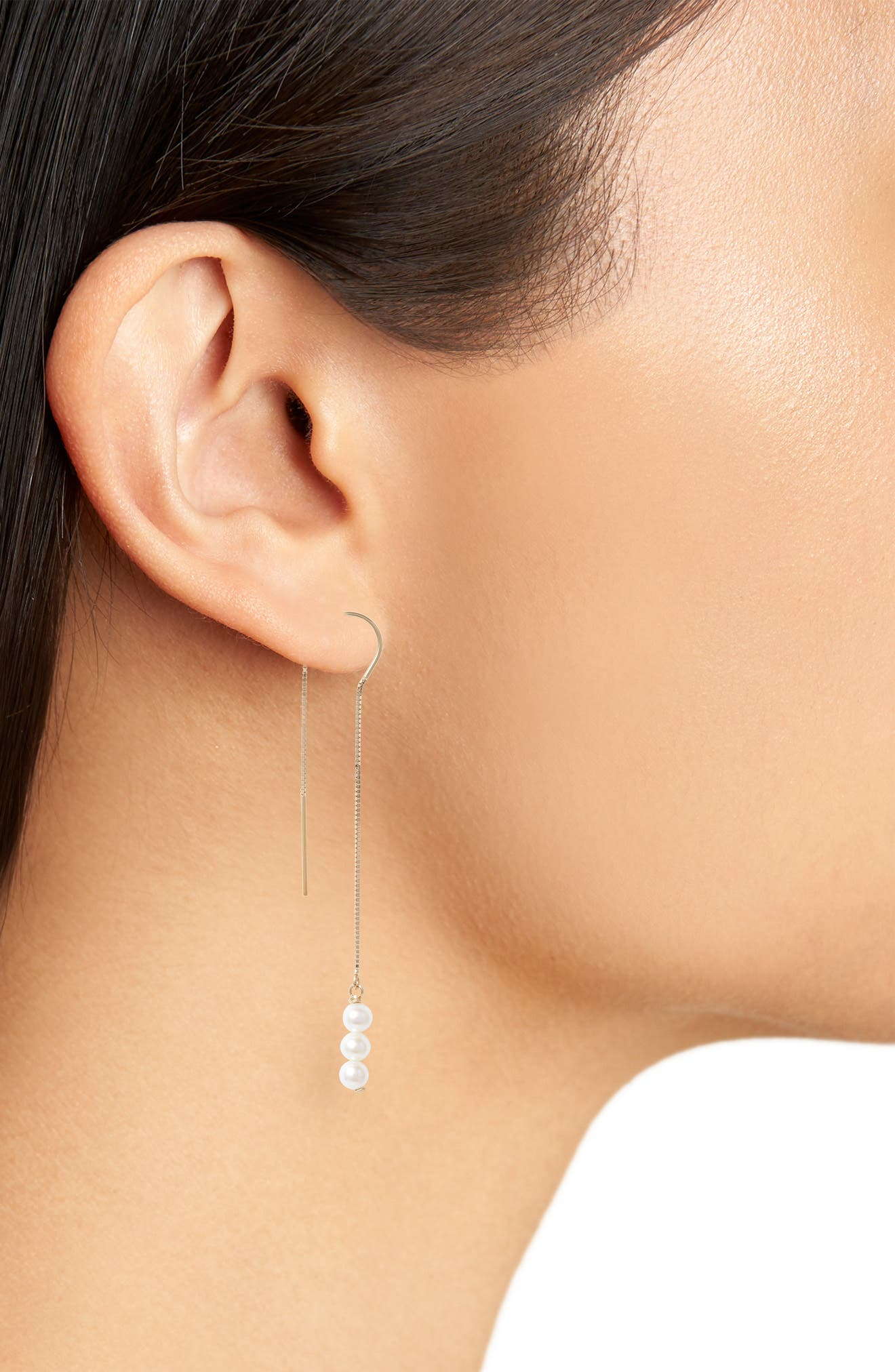 Triple Baby Pearl Threader Earrings,                             Alternate thumbnail 2, color,                             Yellow Gold/ White Pearl