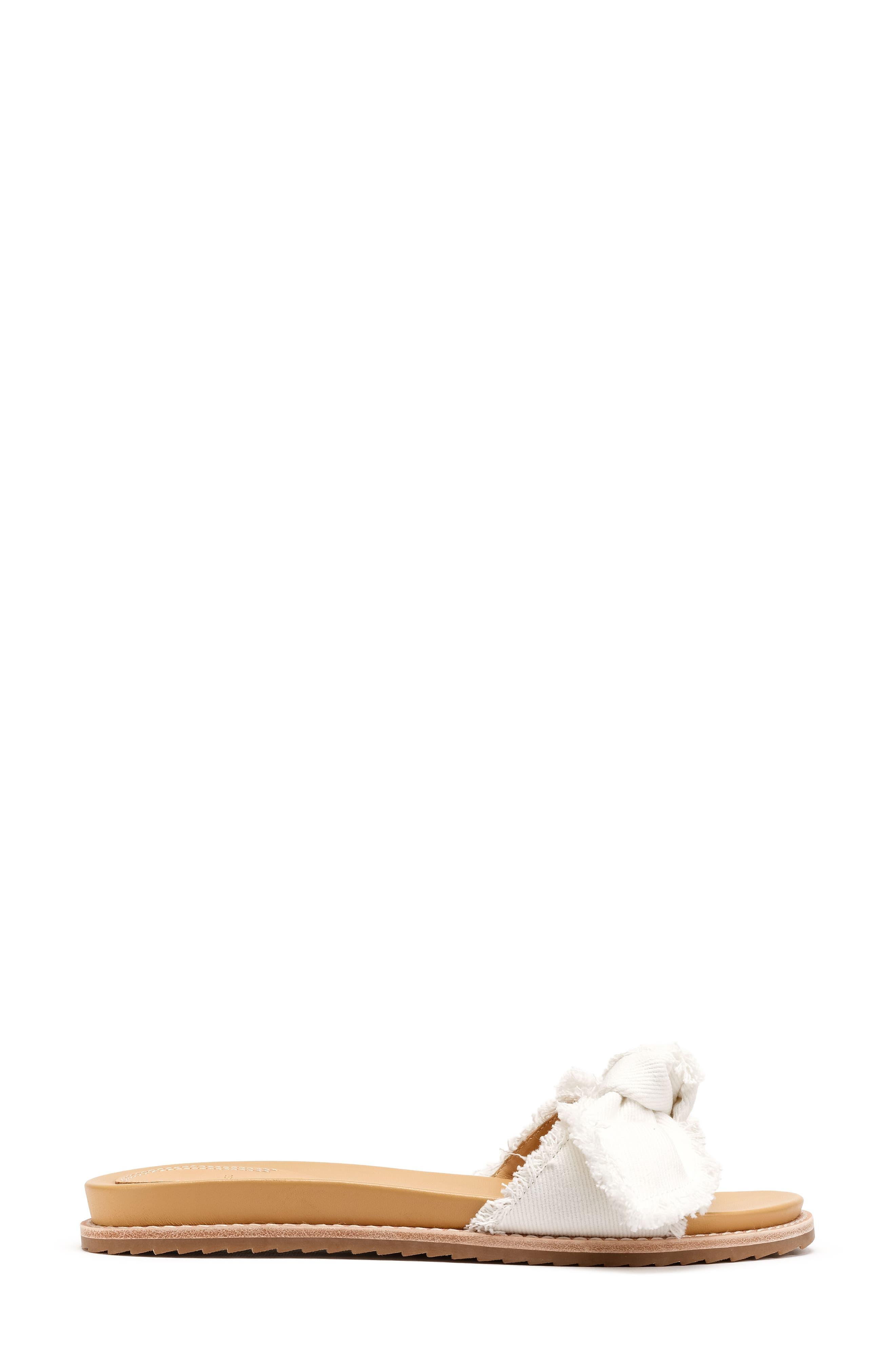 Carmela Slide Sandal,                             Alternate thumbnail 3, color,                             White Fabric