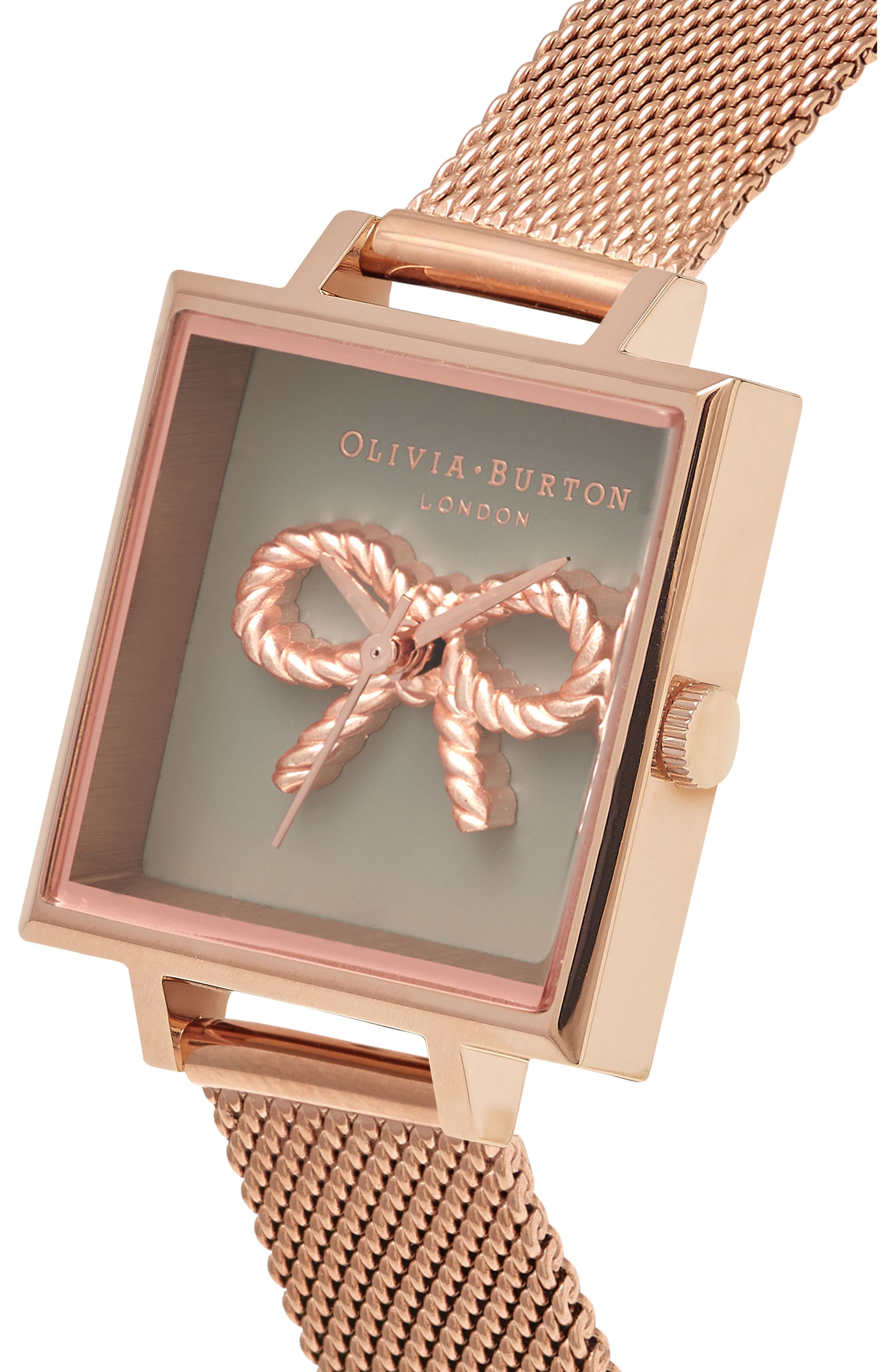 Vintage Bow Square Mesh Strap Watch, 23mm,                             Alternate thumbnail 3, color,                             Rose Gold/ Bow/ Rose Gold