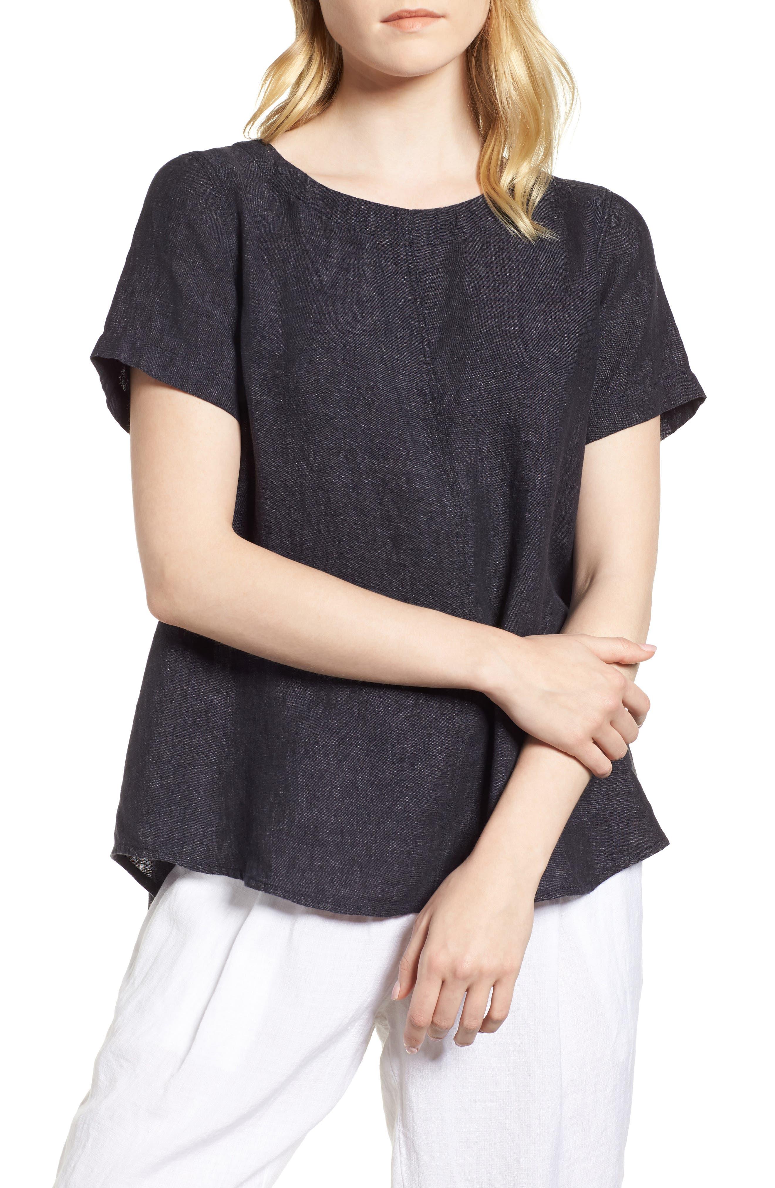 Short Sleeve Organic Linen Flutter Top,                             Main thumbnail 1, color,                             Denim