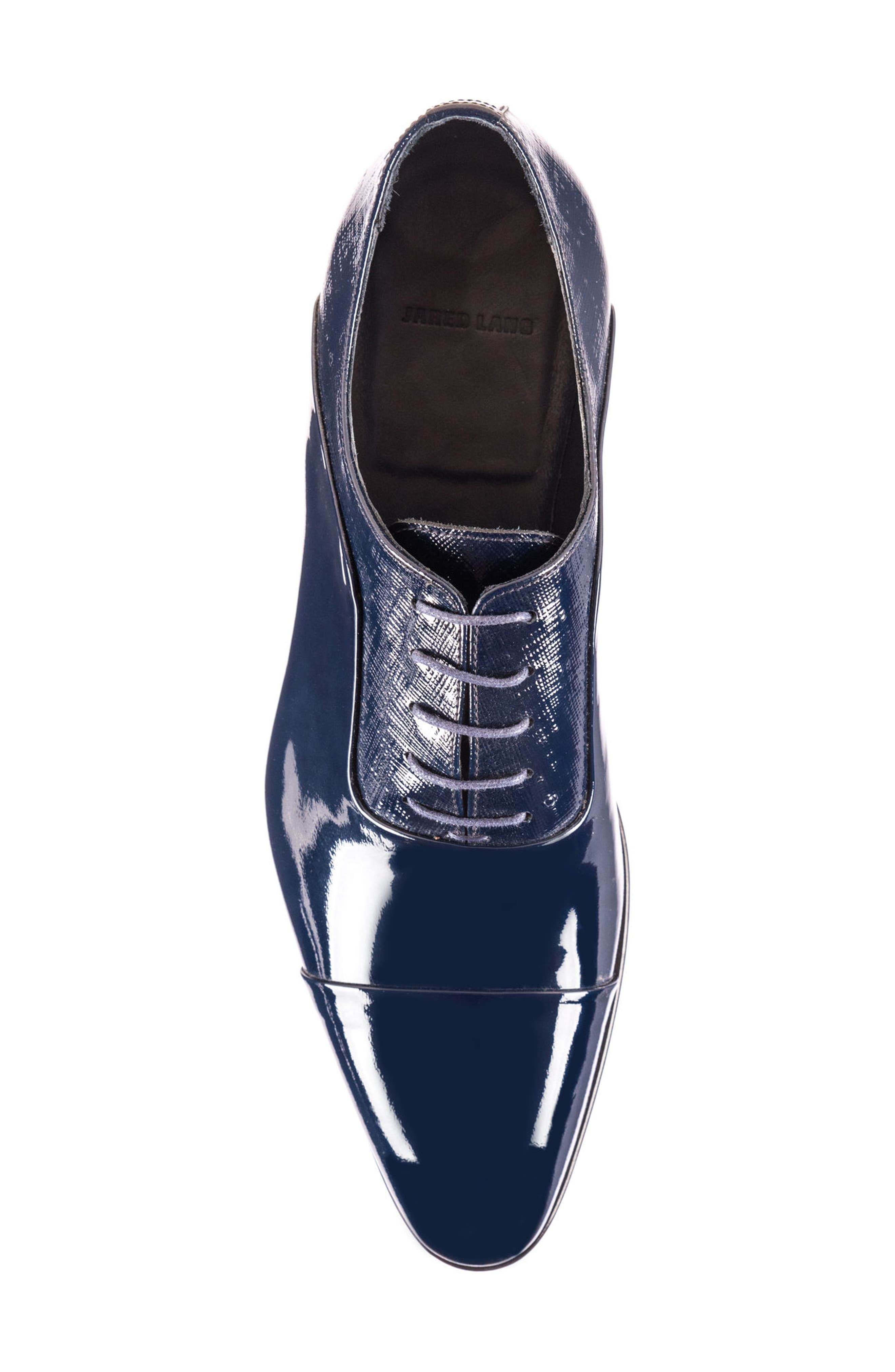 Jimmy Cap Toe Oxford,                             Alternate thumbnail 5, color,                             Navy Leather