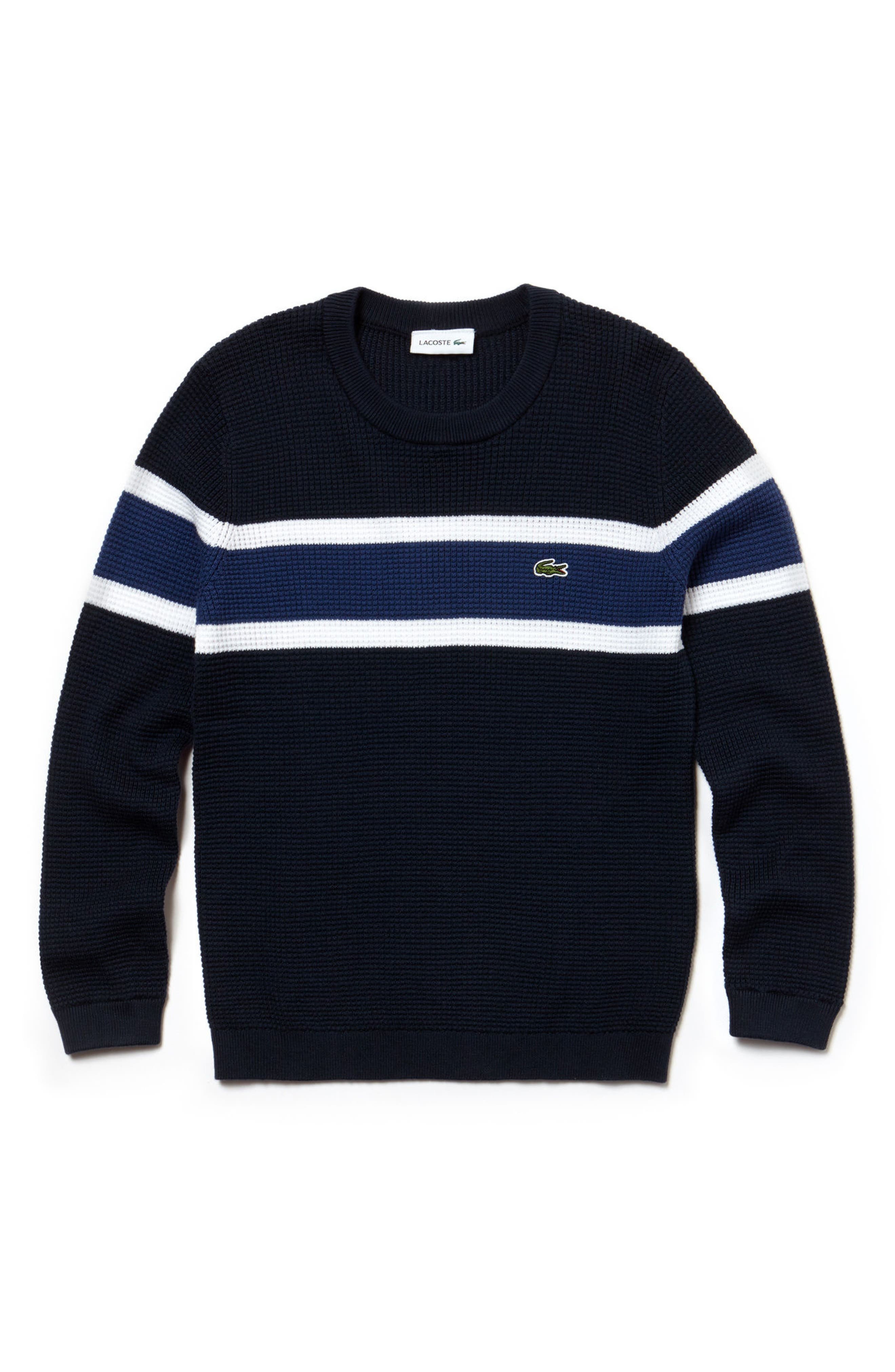Piqué Effect Knit Sweater,                             Main thumbnail 1, color,                             Navy Blue/ White