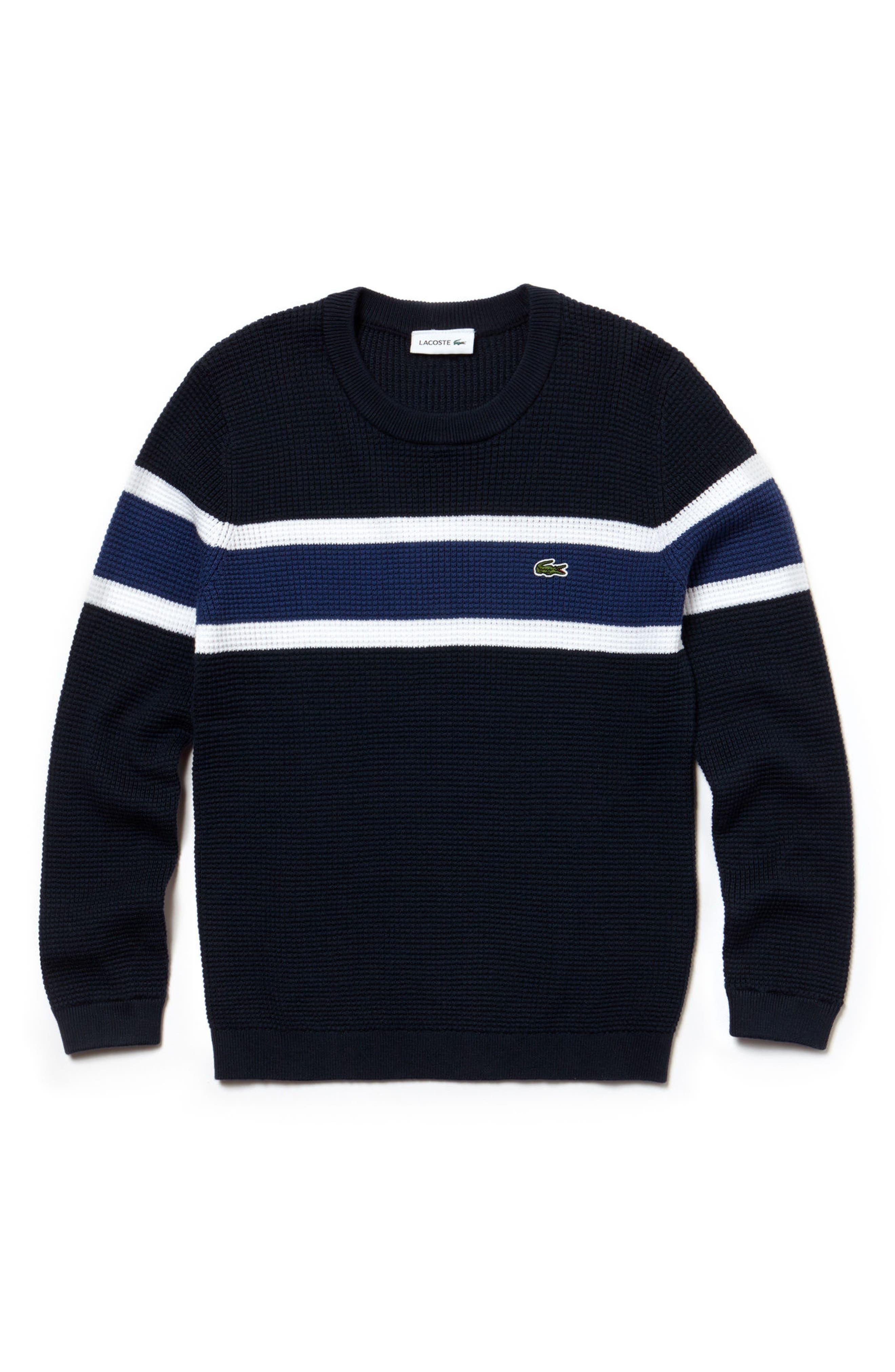 Piqué Effect Knit Sweater,                         Main,                         color, Navy Blue/ White