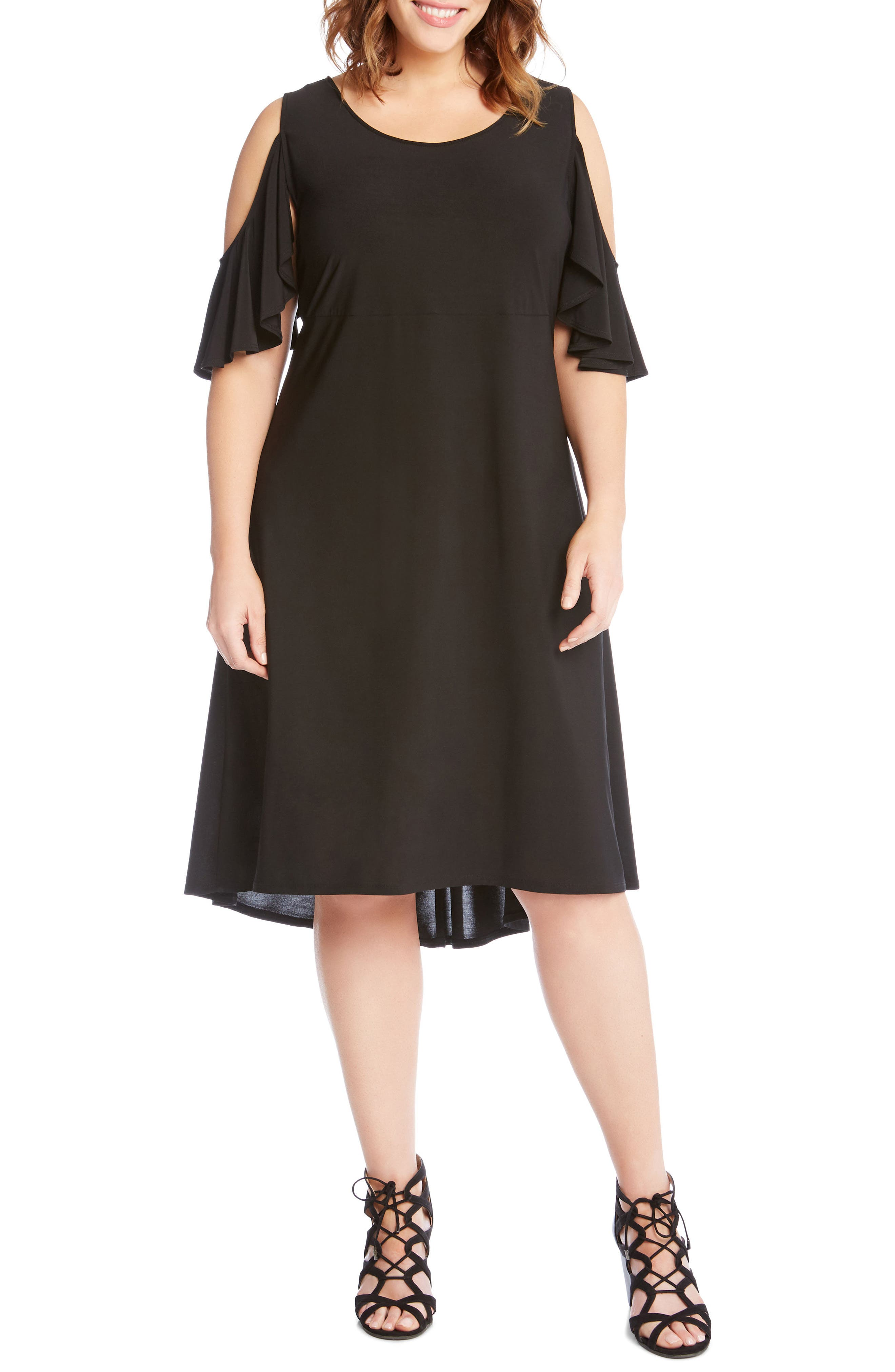 Cold Shoulder High/Low Shift Dress,                             Main thumbnail 1, color,                             Black