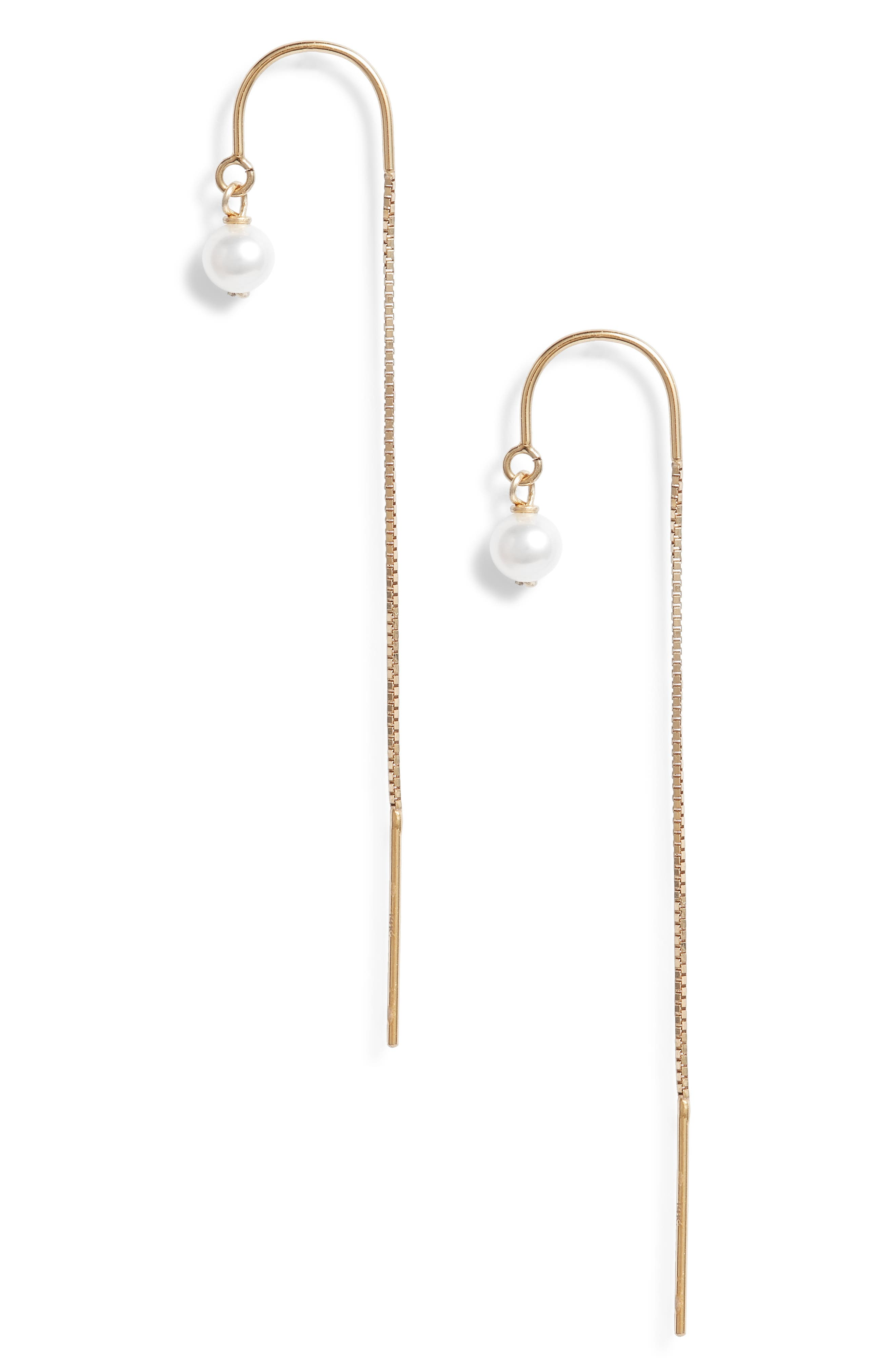 Tiny Pearl Threader Earrings,                             Main thumbnail 1, color,                             Yellow Gold/ White Pearl