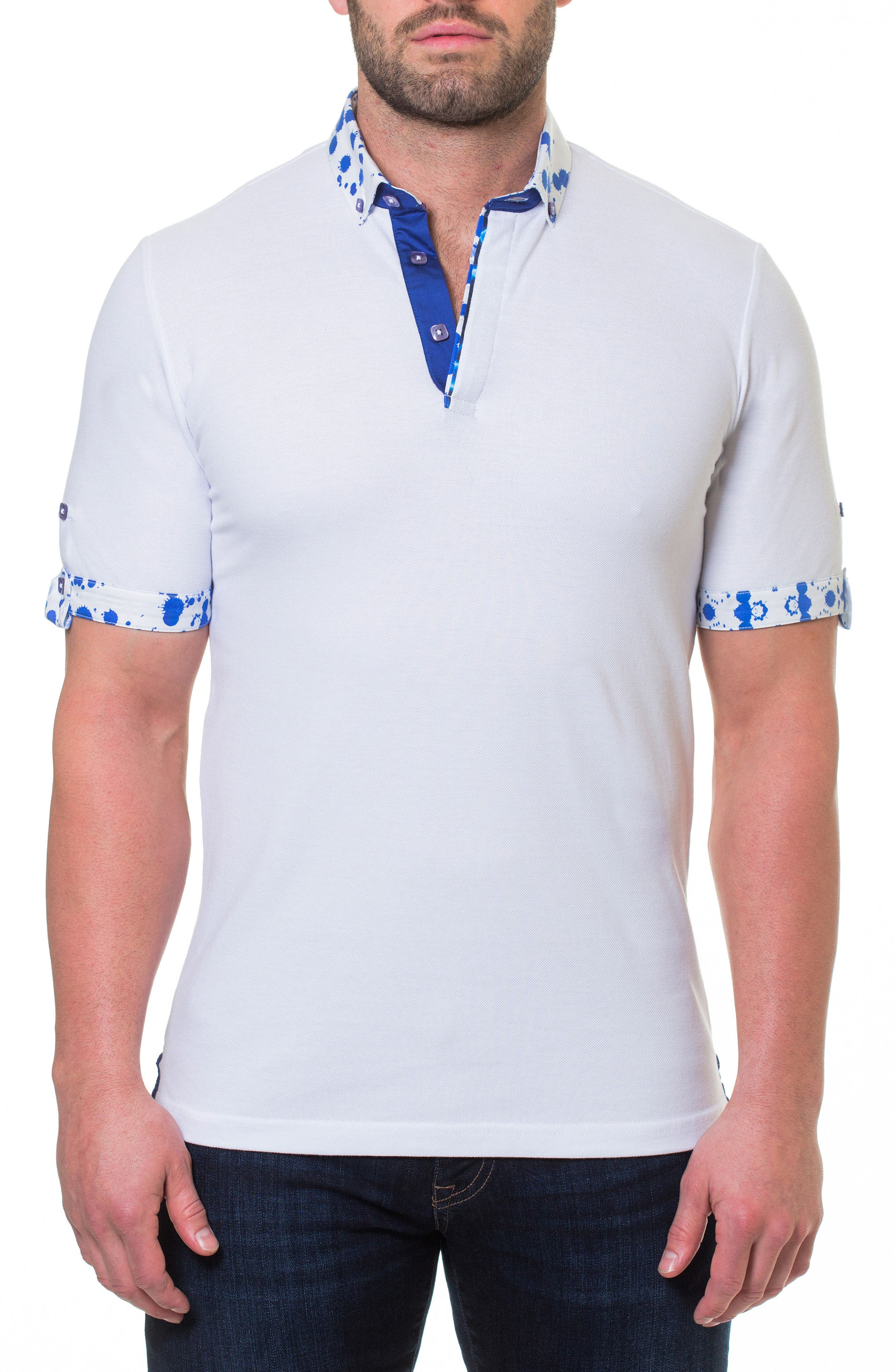 Woven Trim Polo,                         Main,                         color, White