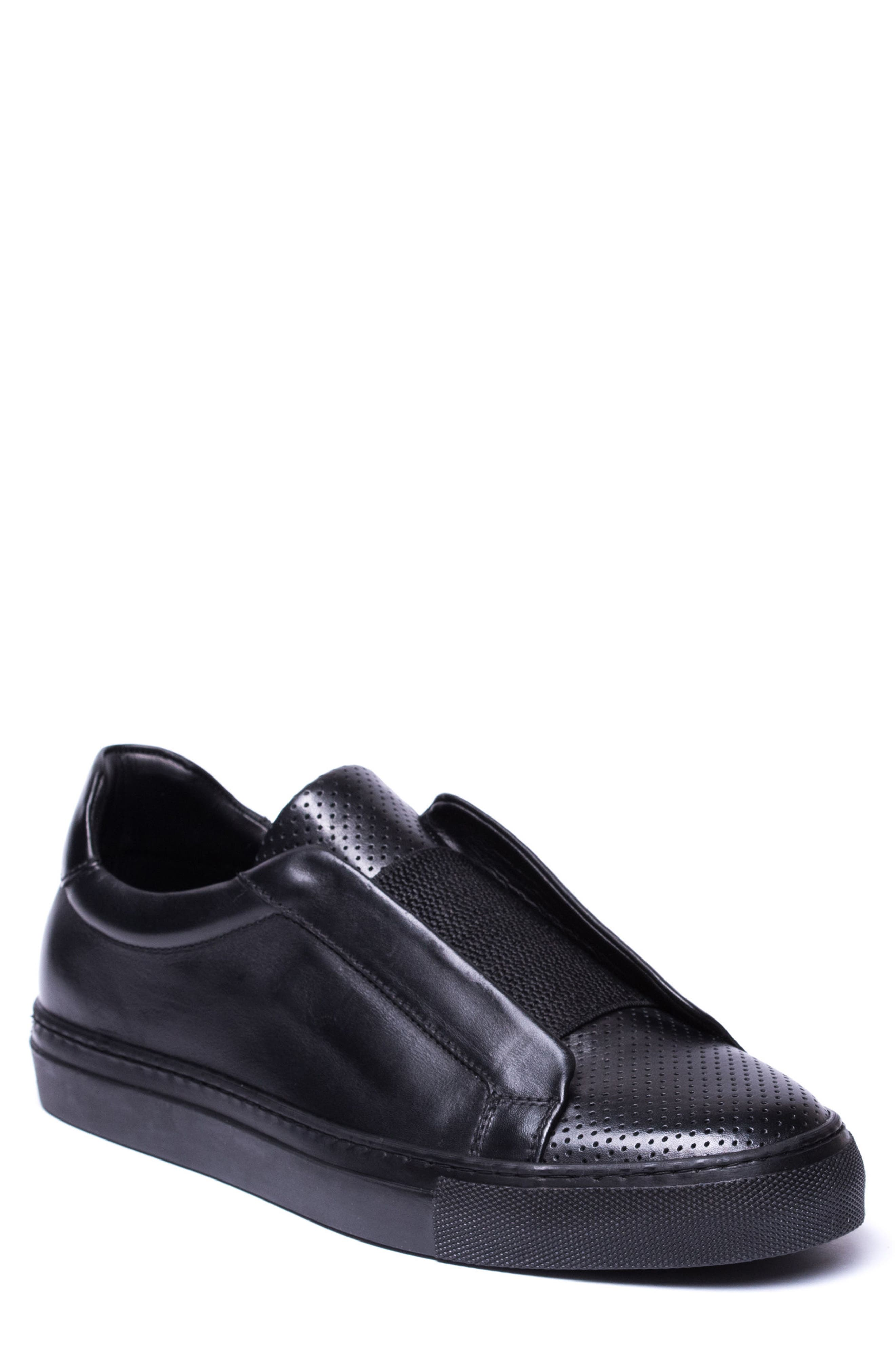 Mane Laceless Perforated Sneaker,                             Main thumbnail 1, color,                             Black Leather