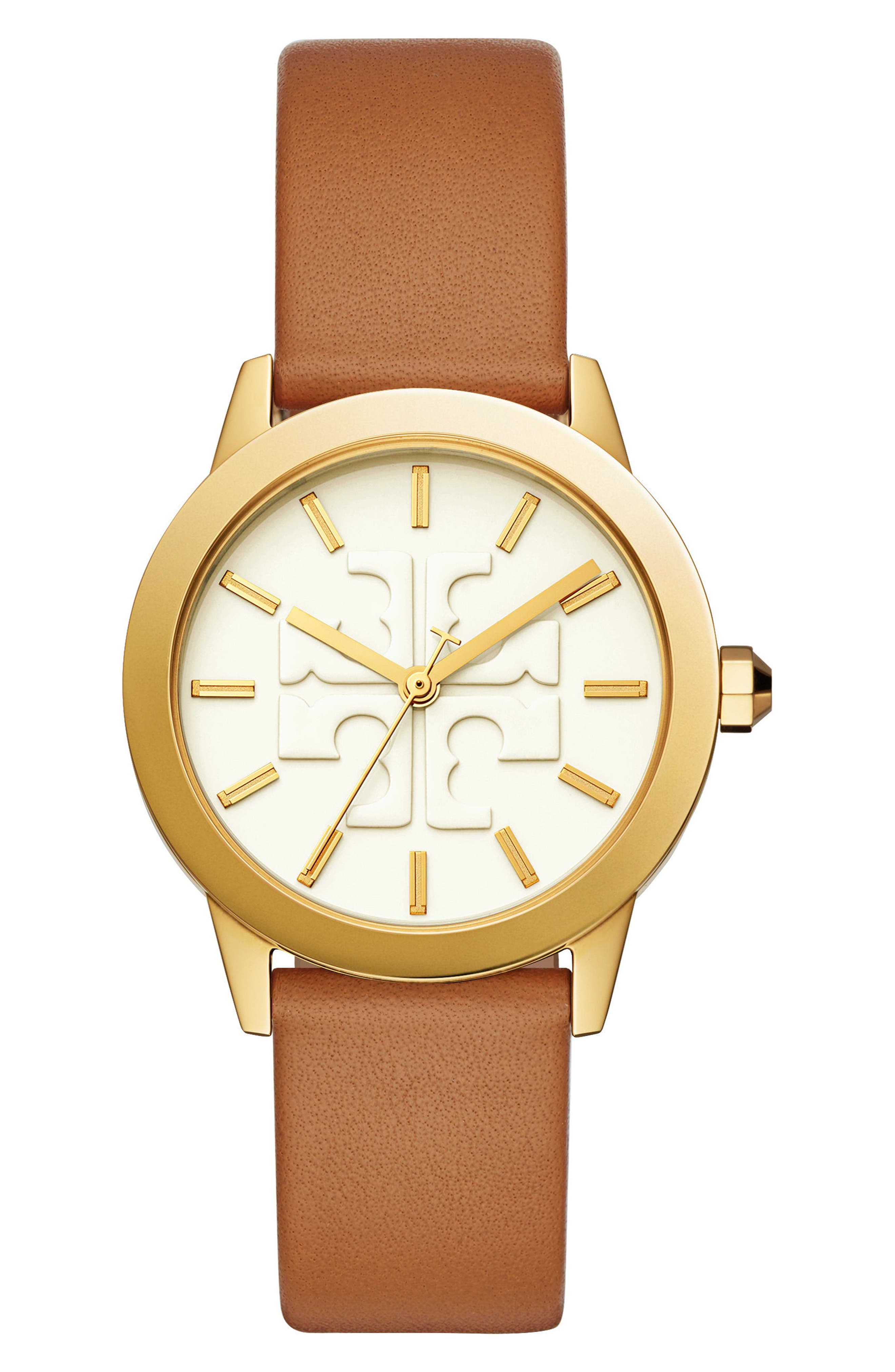 Gigi Leather Strap Watch, 36mm,                             Main thumbnail 1, color,                             Luggage/ Cream/ Gold