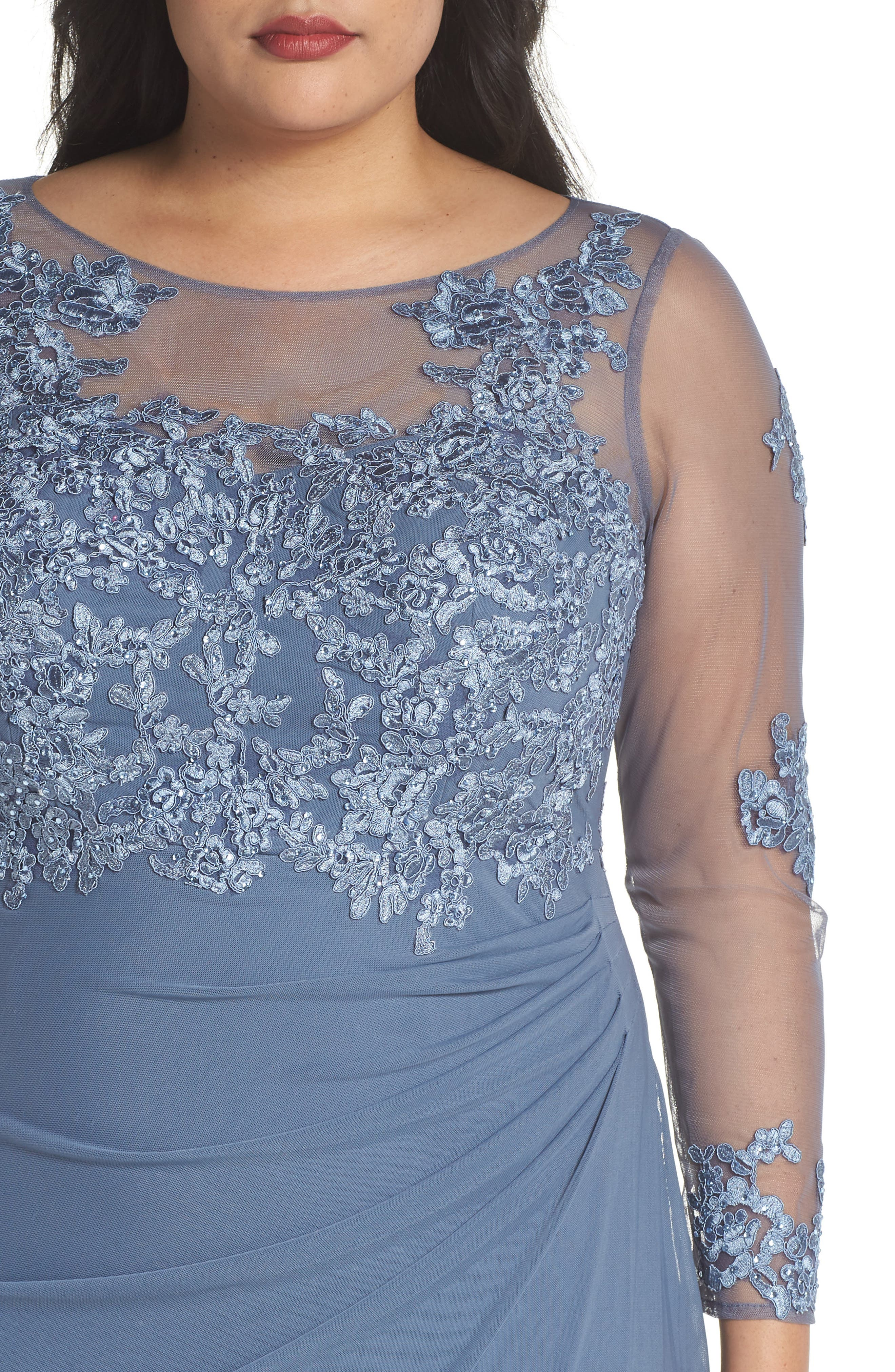 Embroidered Illusion Lace Gown,                             Alternate thumbnail 4, color,                             Peri