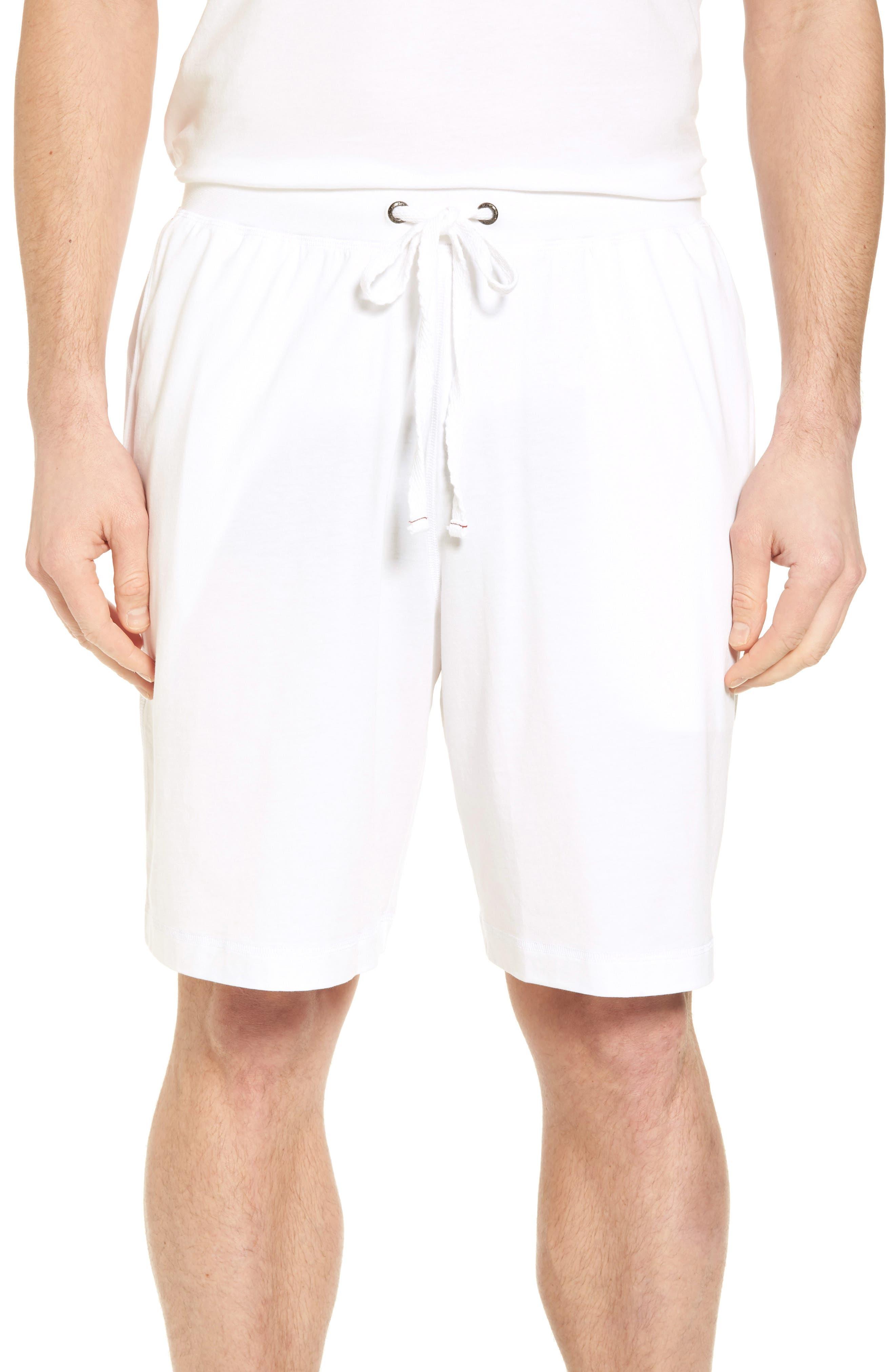 Stretch Cotton Blend Lounge Shorts,                         Main,                         color, White