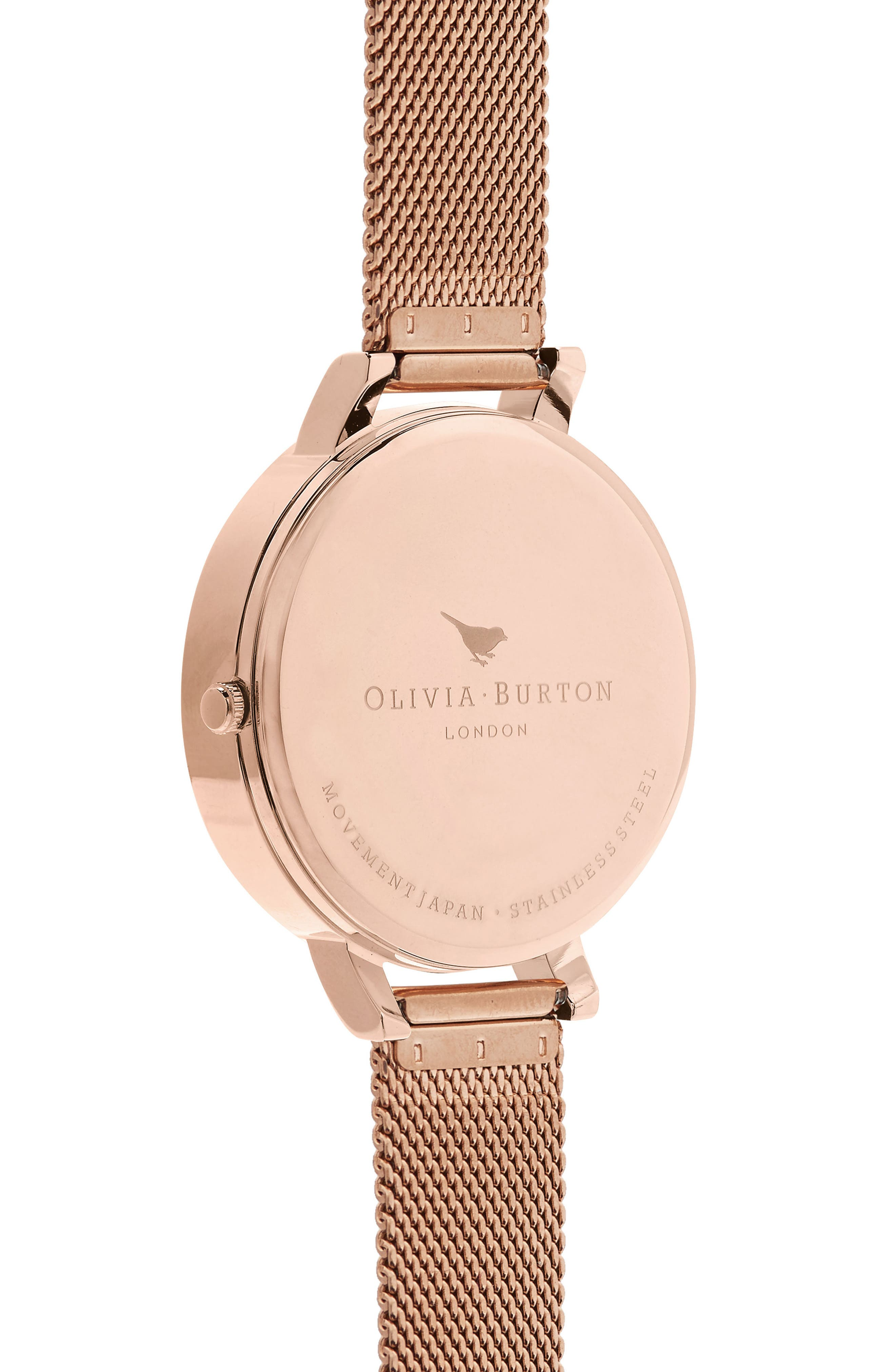 Abstract Floral Mesh Strap Watch, 38mm,                             Alternate thumbnail 2, color,                             Rose Gold/ Floral/ Rose Gold