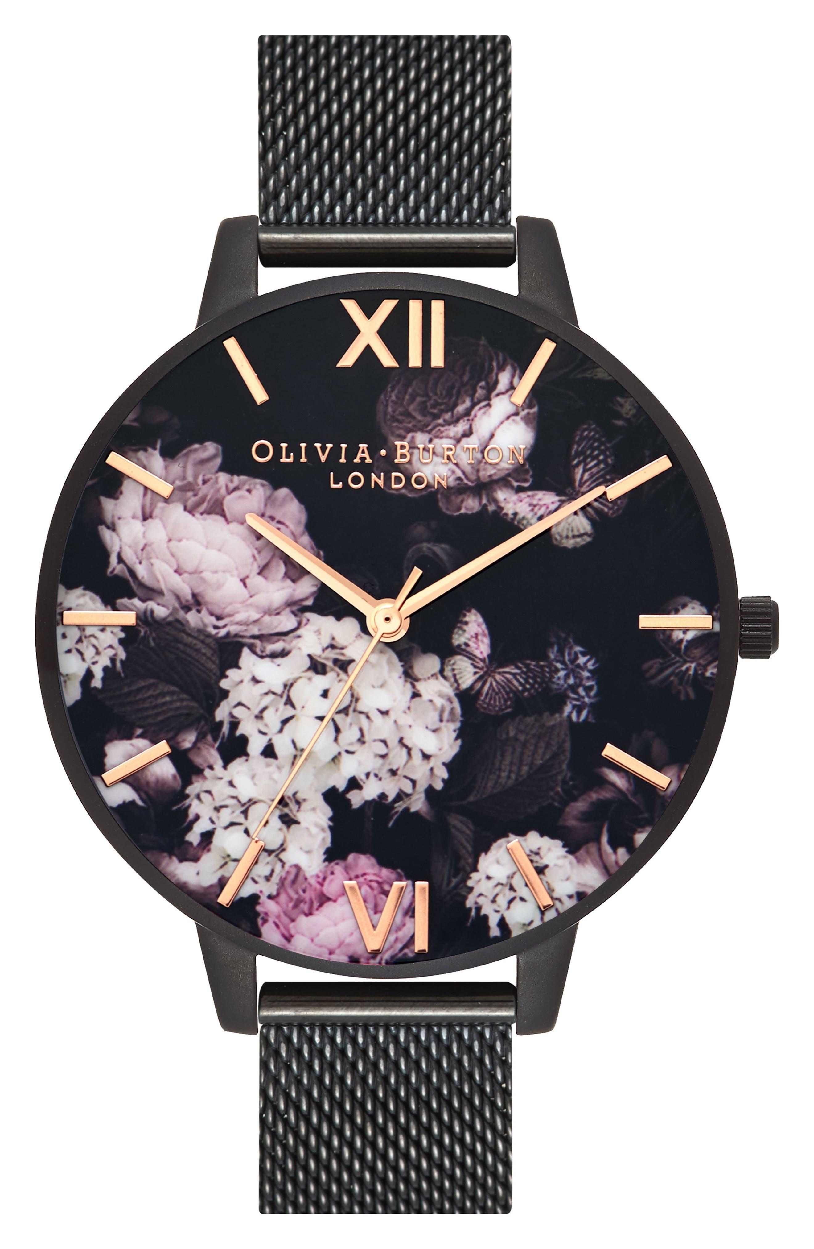 Signature Floral Mesh Strap Watch, 38mm,                         Main,                         color, Black/ Floral/ Rose Gold