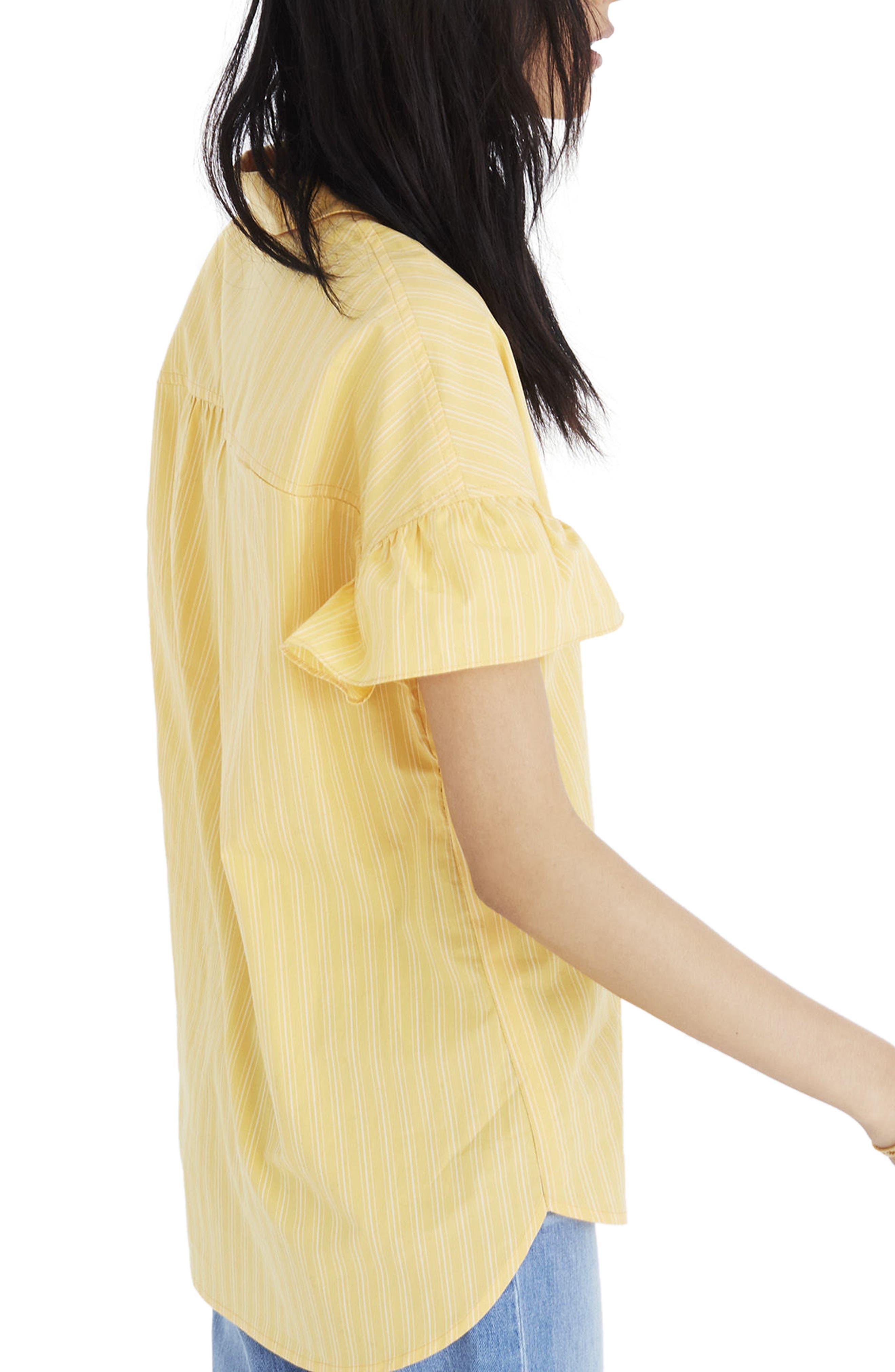 Central Stripe Ruffle Sleeve Shirt,                             Alternate thumbnail 2, color,                             Golden Daffodil