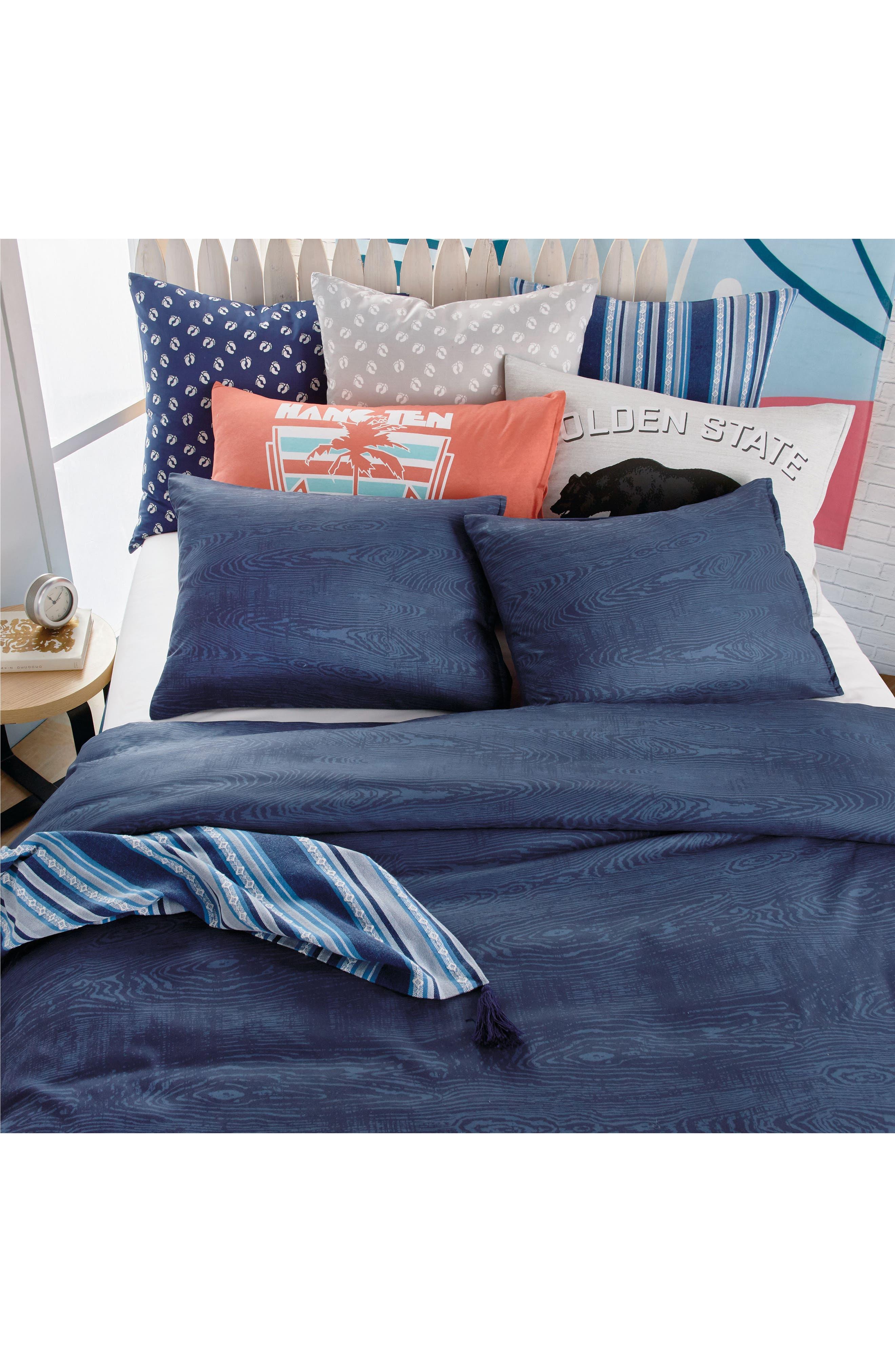 Woodgrain Comforter & Sham Set,                             Alternate thumbnail 4, color,                             Navy