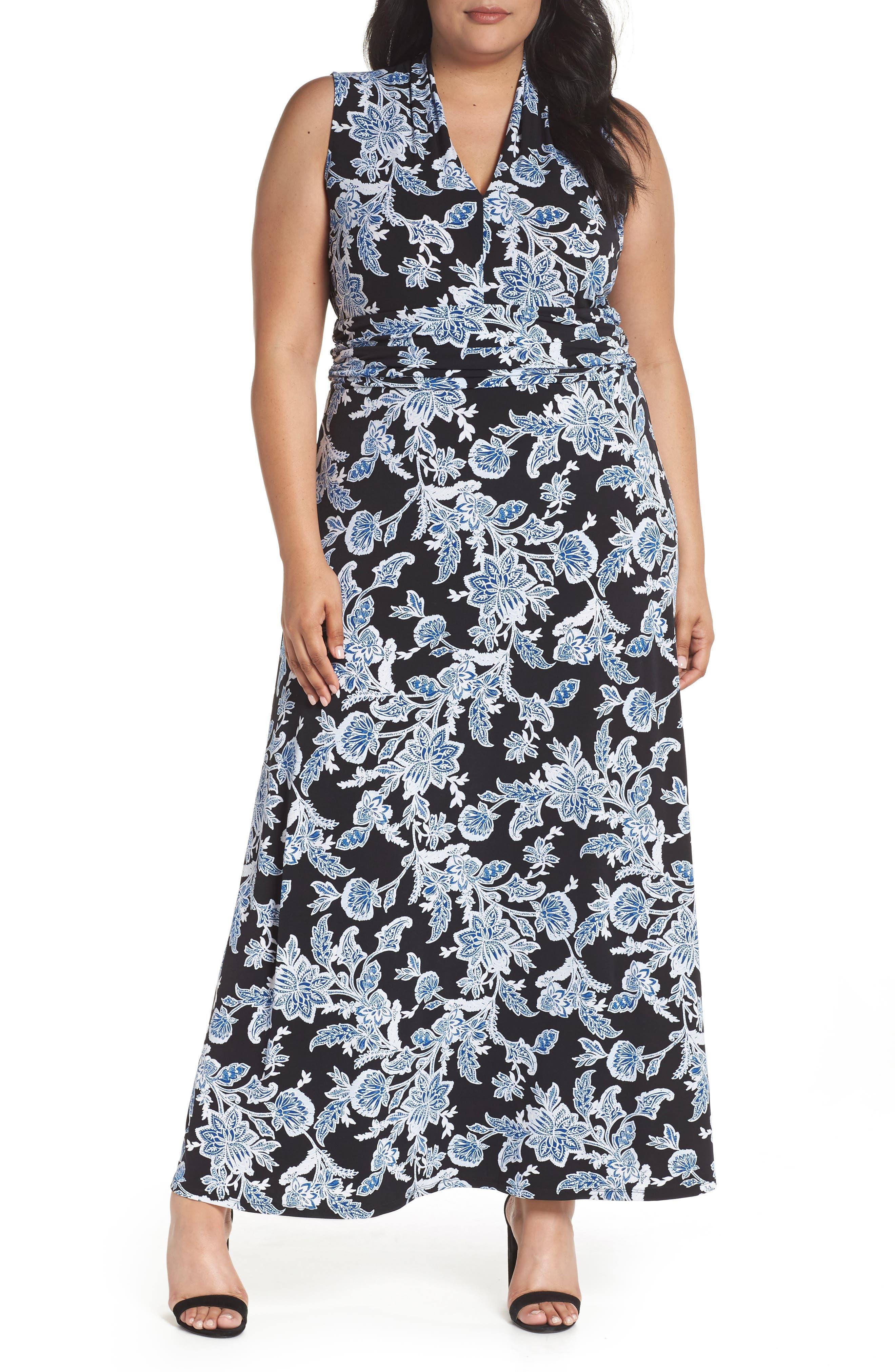 Woodblock Floral Maxi Dress,                         Main,                         color, Rich Black