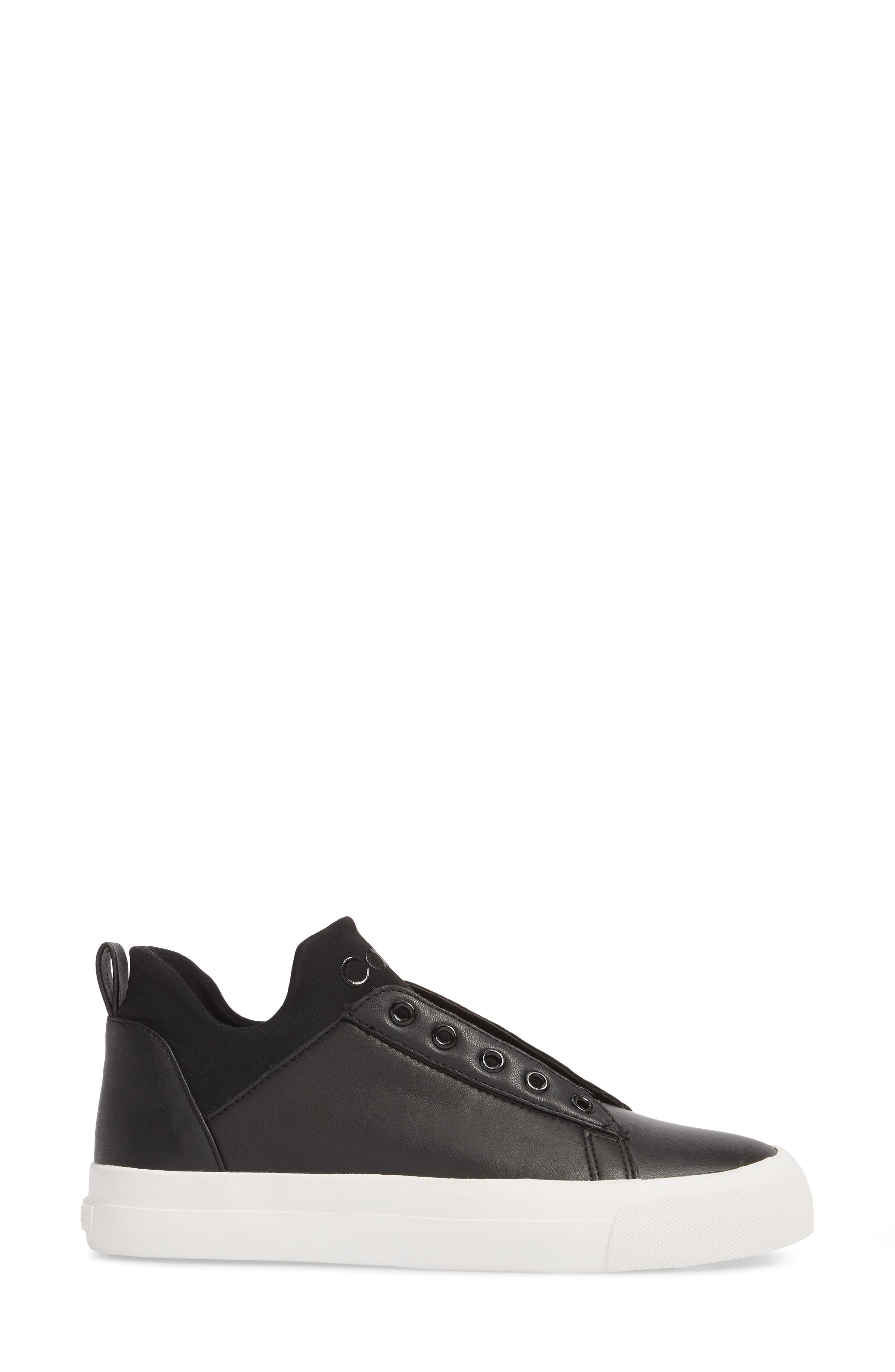 Valorie Mid Top Sneaker,                             Alternate thumbnail 3, color,                             Black Leather
