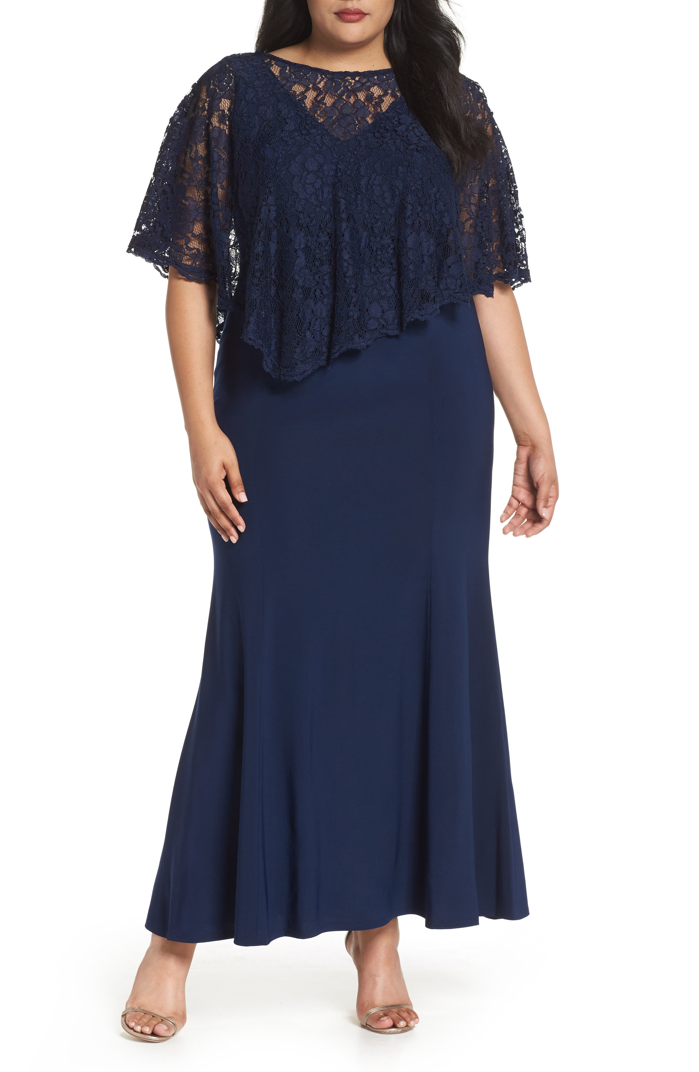 Lace Poncho Dress,                             Main thumbnail 1, color,                             Navy