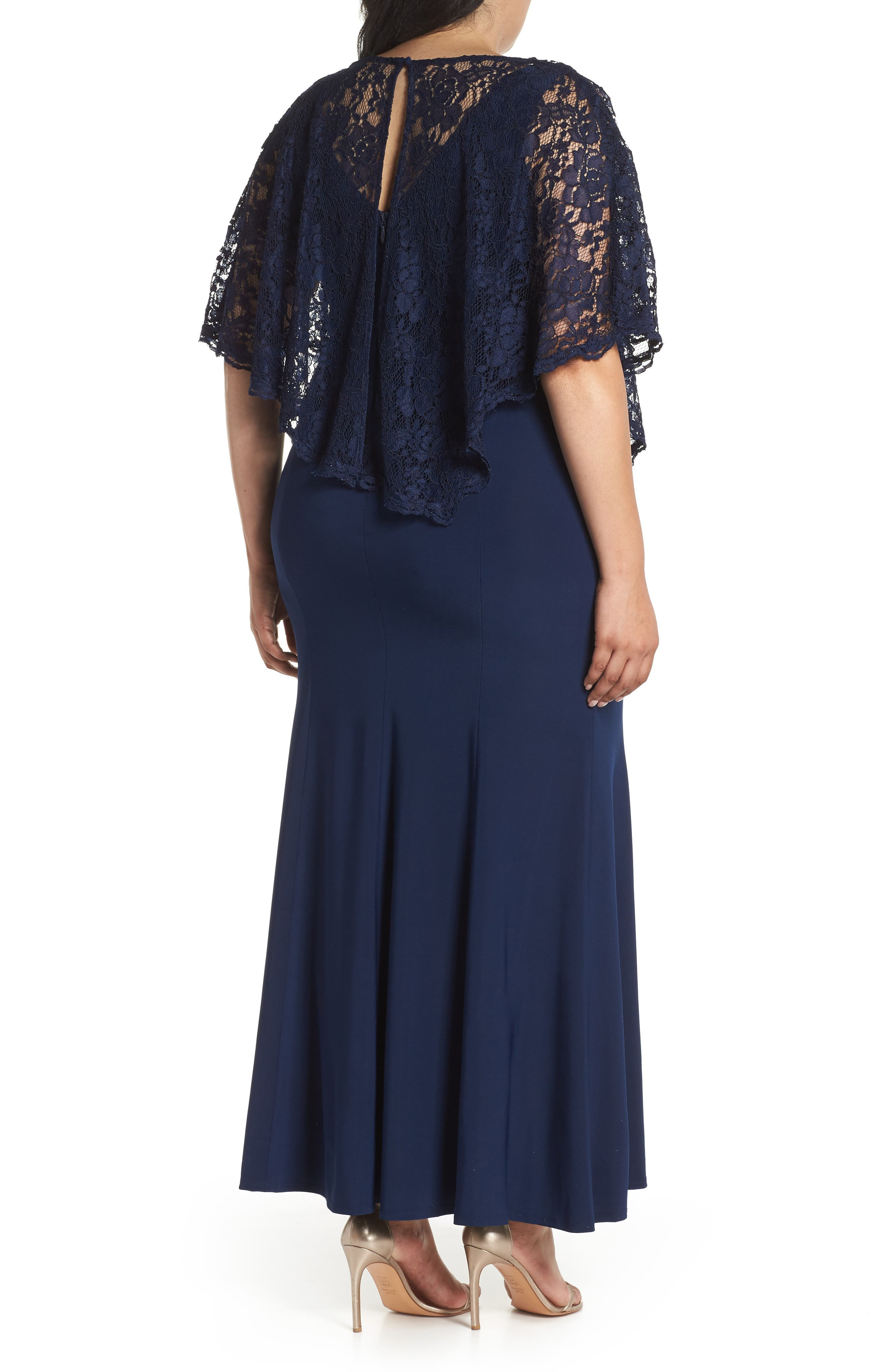 Lace Poncho Dress,                             Alternate thumbnail 2, color,                             Navy