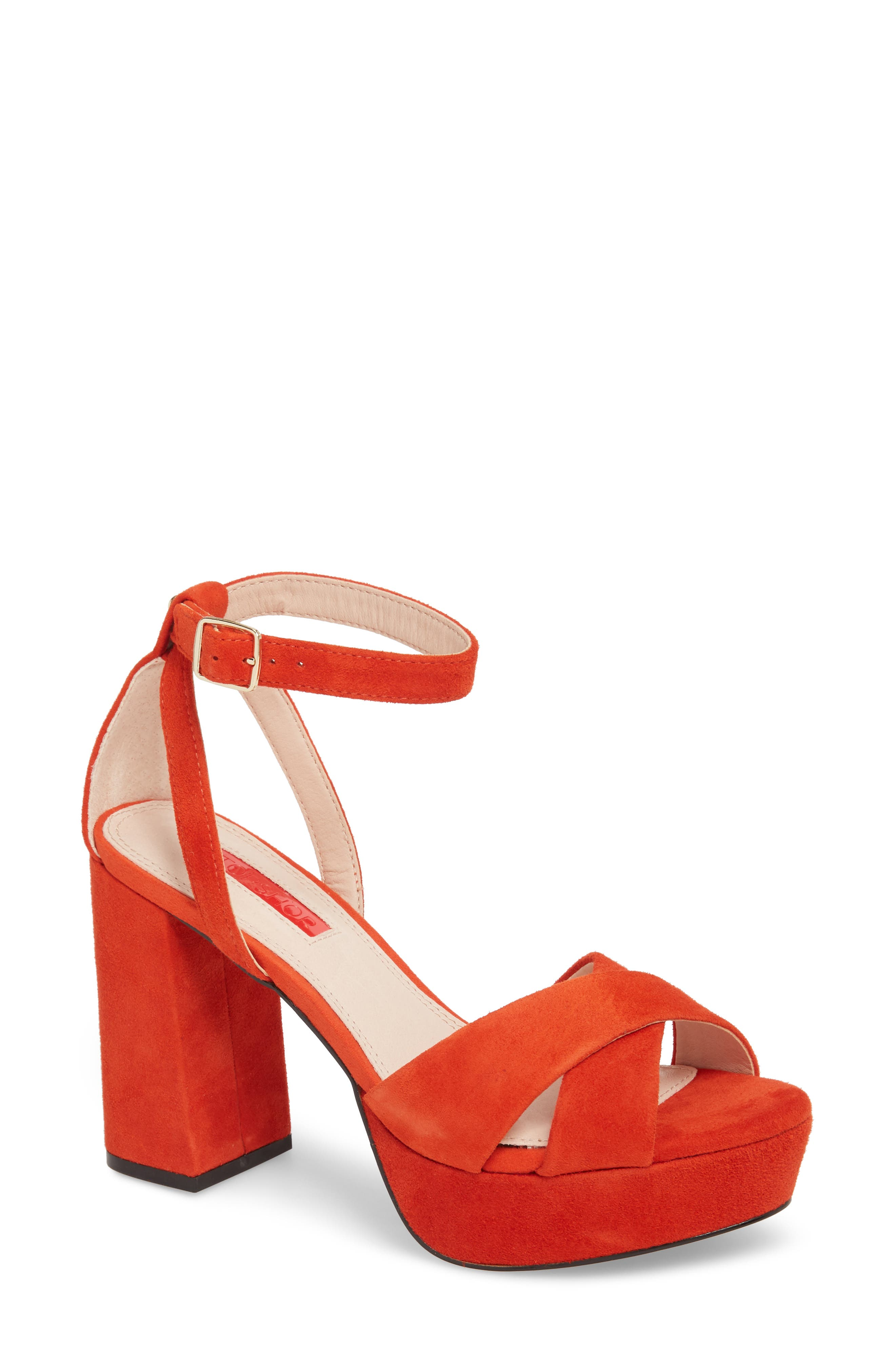 Leah Cross Strap Platform Sandal,                             Main thumbnail 1, color,                             Orange