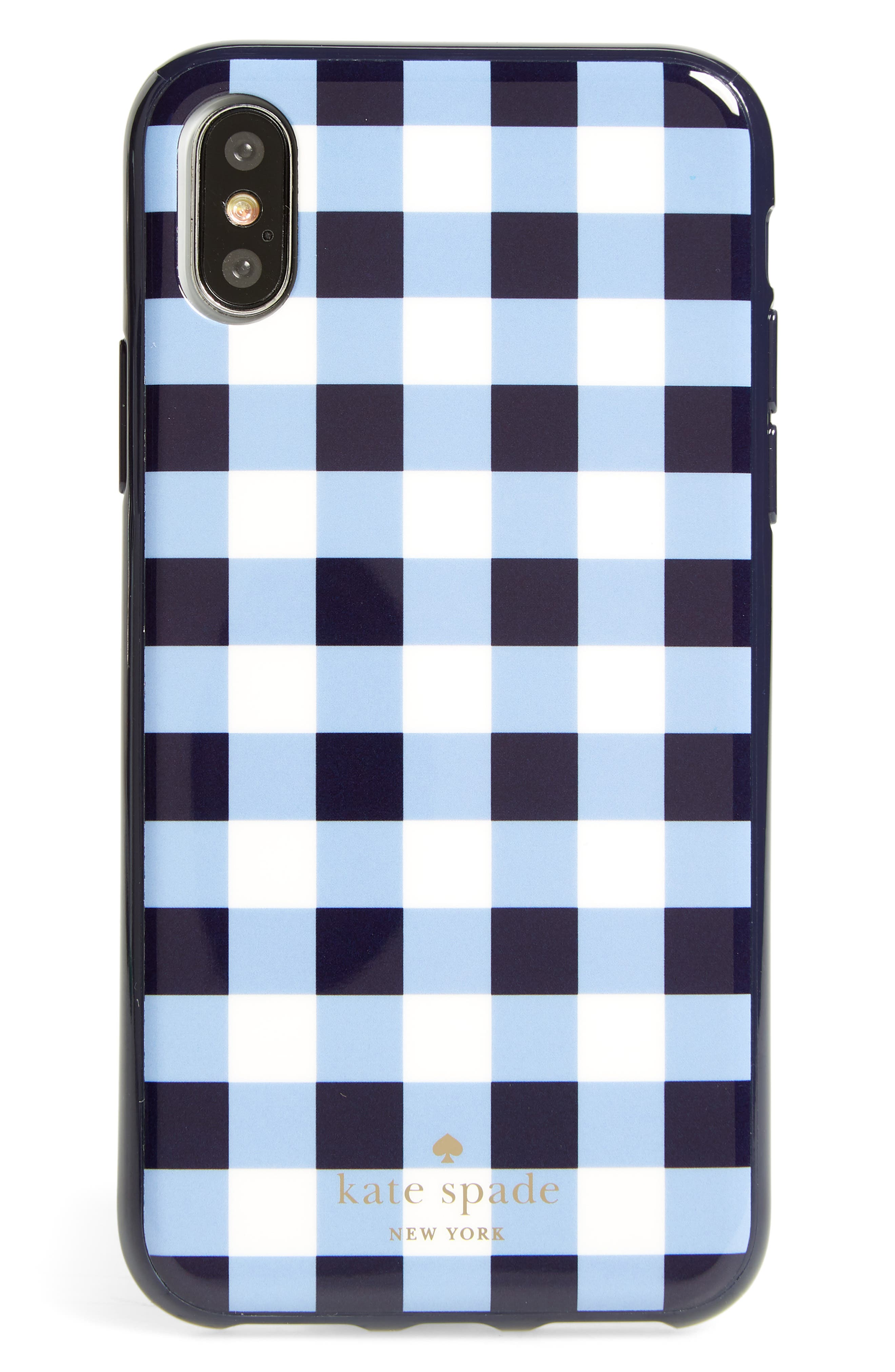 gingham iPhone X case,                         Main,                         color, Navy Multi