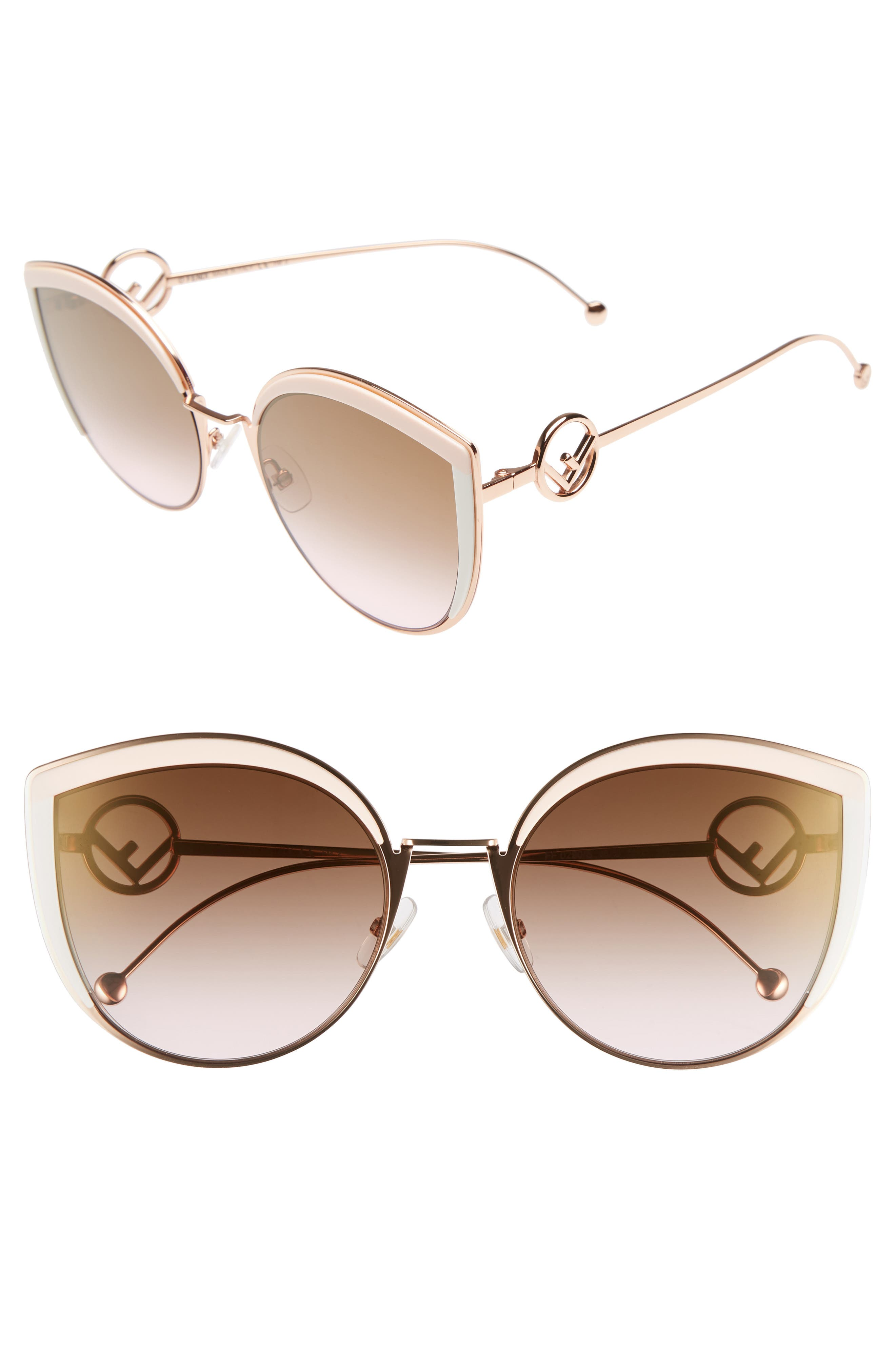 58mm Metal Butterfly Sunglasses,                             Main thumbnail 1, color,                             Pink