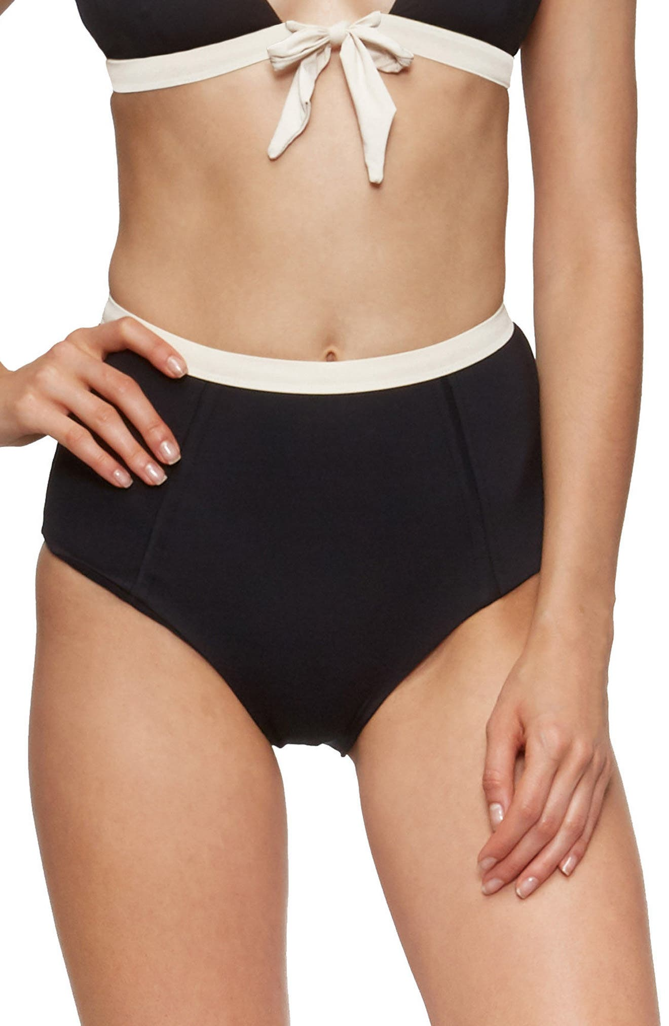 Paradise High Waist Bikini Bottoms,                         Main,                         color, Black/ Tapioca
