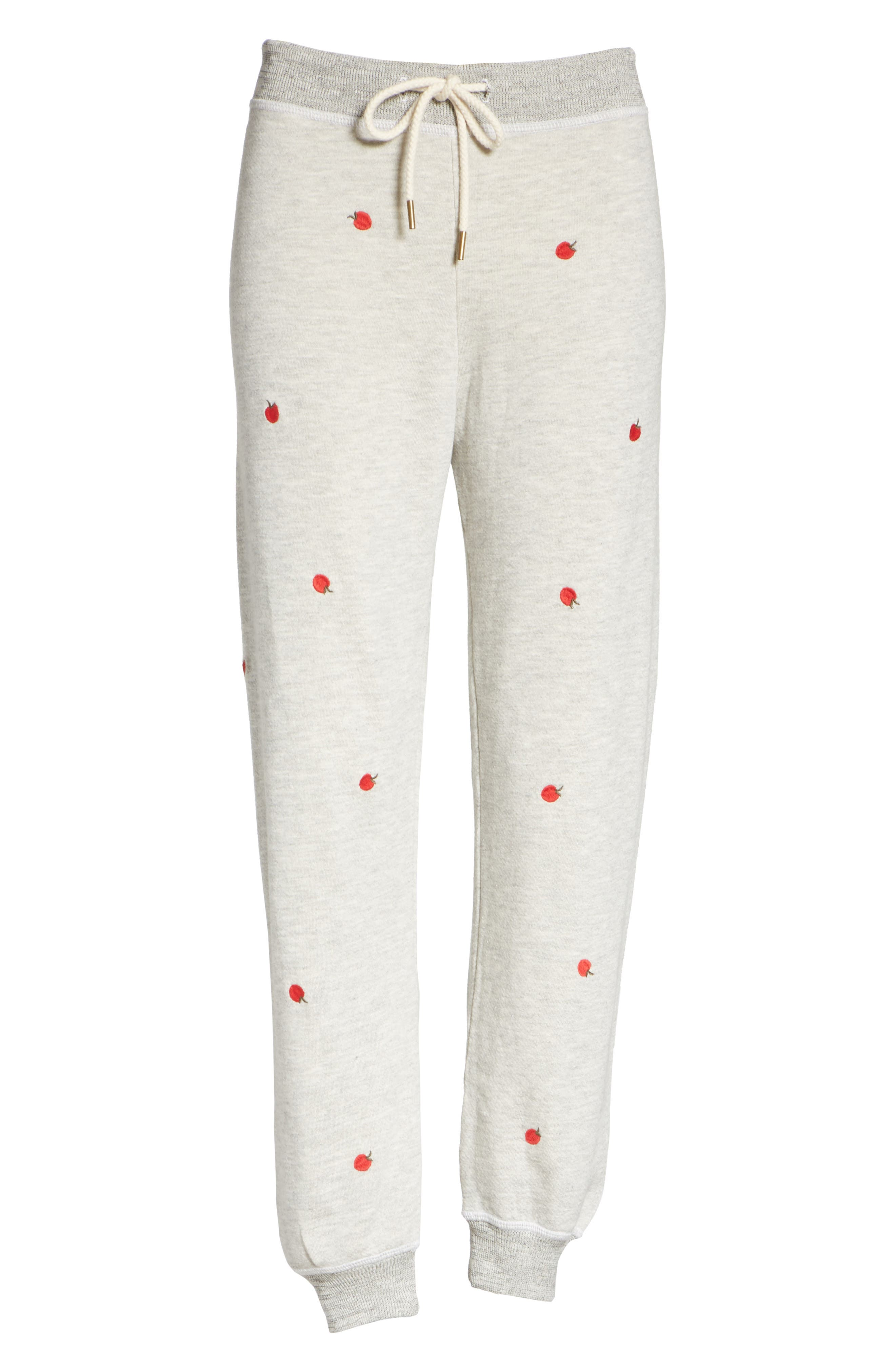 The Cropped Sweatpants,                             Alternate thumbnail 6, color,                             Light Heather Grey/ Red Apples