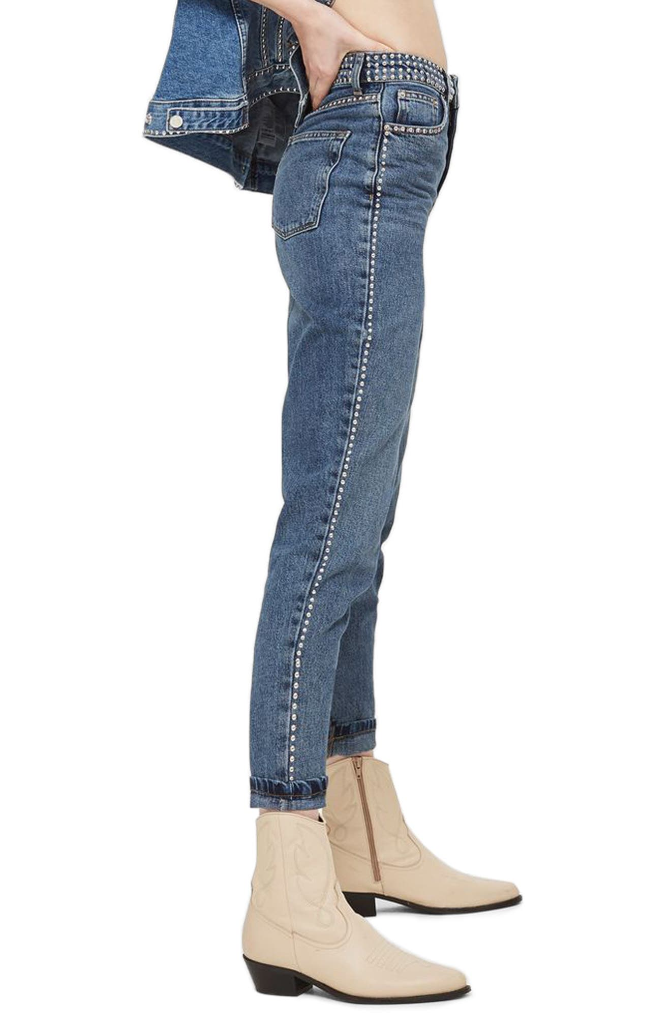 Mid Denim Studded Mom Jeans,                             Alternate thumbnail 3, color,                             Mid Denim